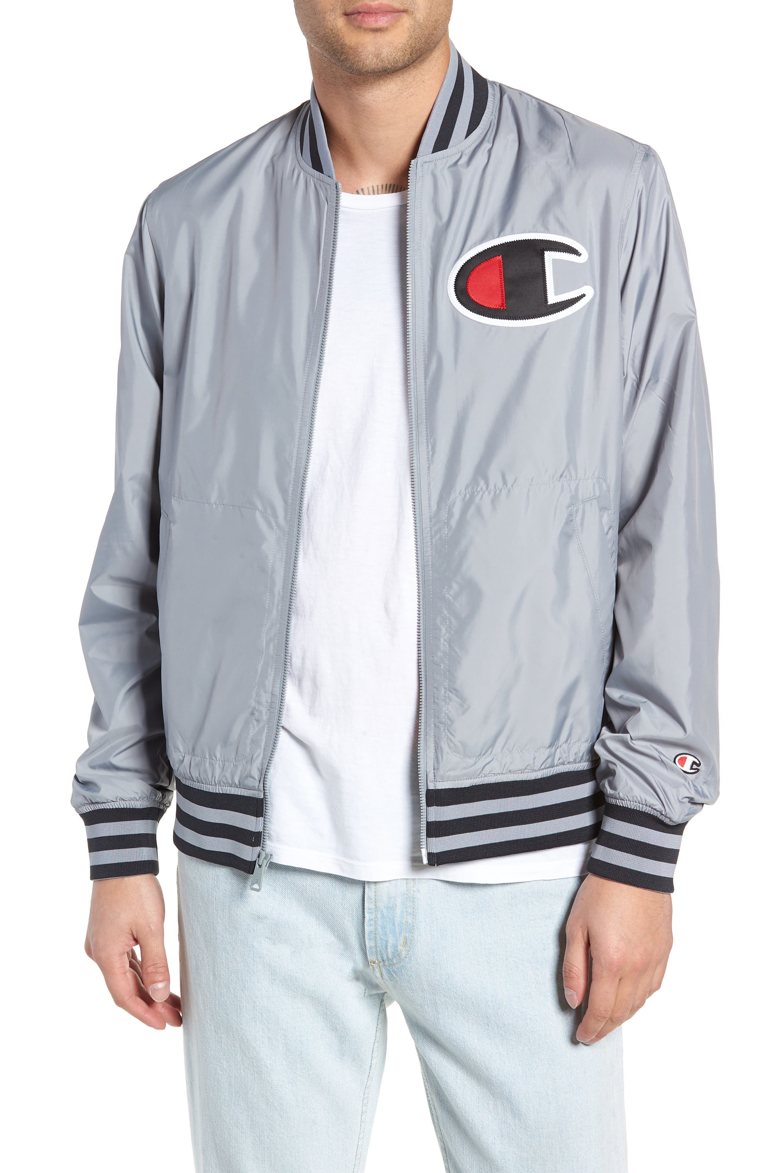 Satin Baseball Jacket,                             Main thumbnail 1, color,                             030