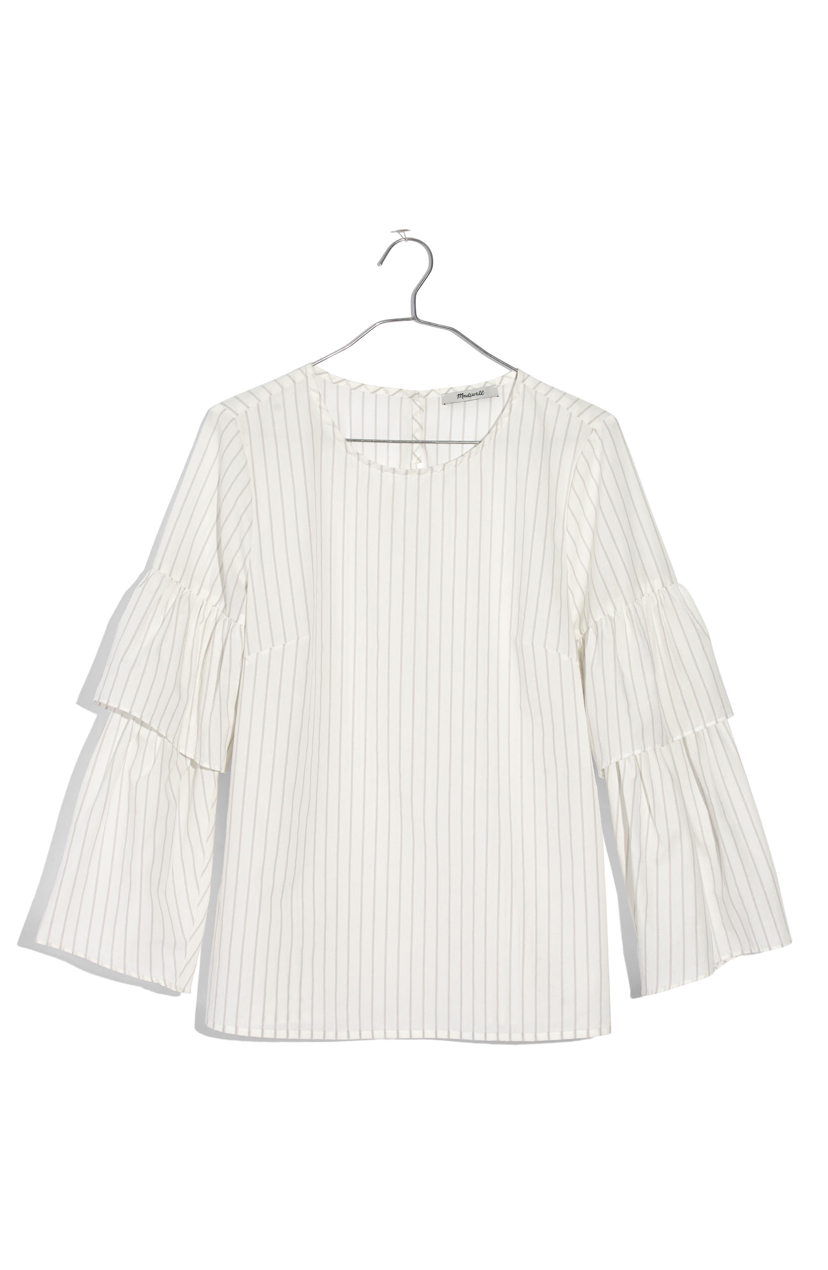 Stripe Ruffle Sleeve Top,                             Alternate thumbnail 3, color,                             100