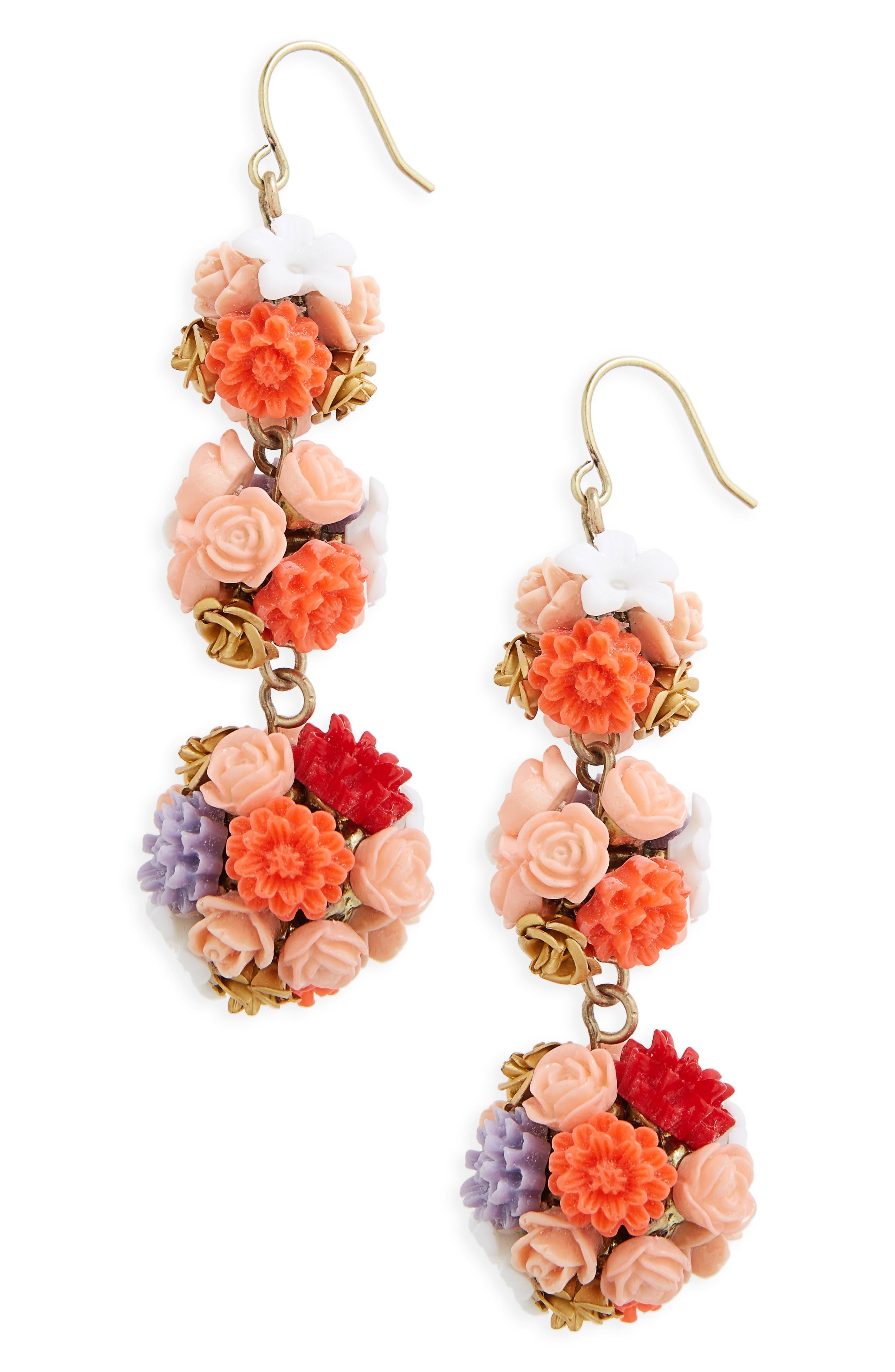 Flora Drop Earrings,                             Main thumbnail 1, color,                             650