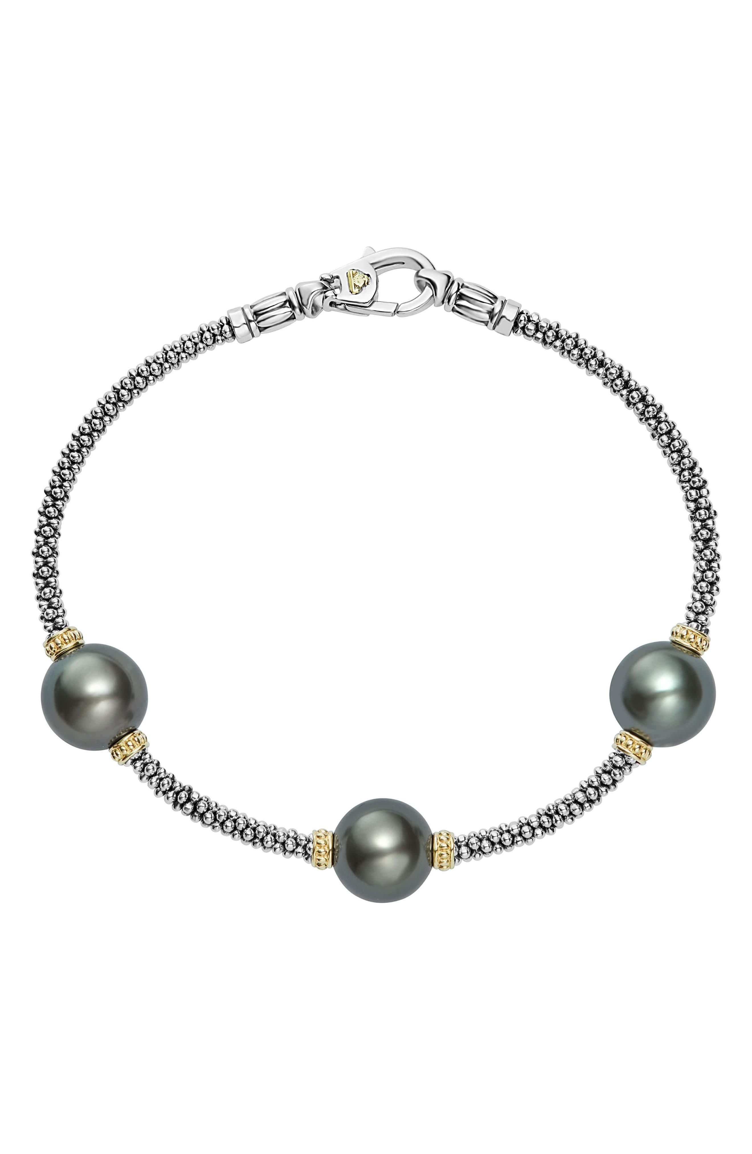 Luna Pearl Rope Bracelet,                             Main thumbnail 1, color,                             BLACK PEARL