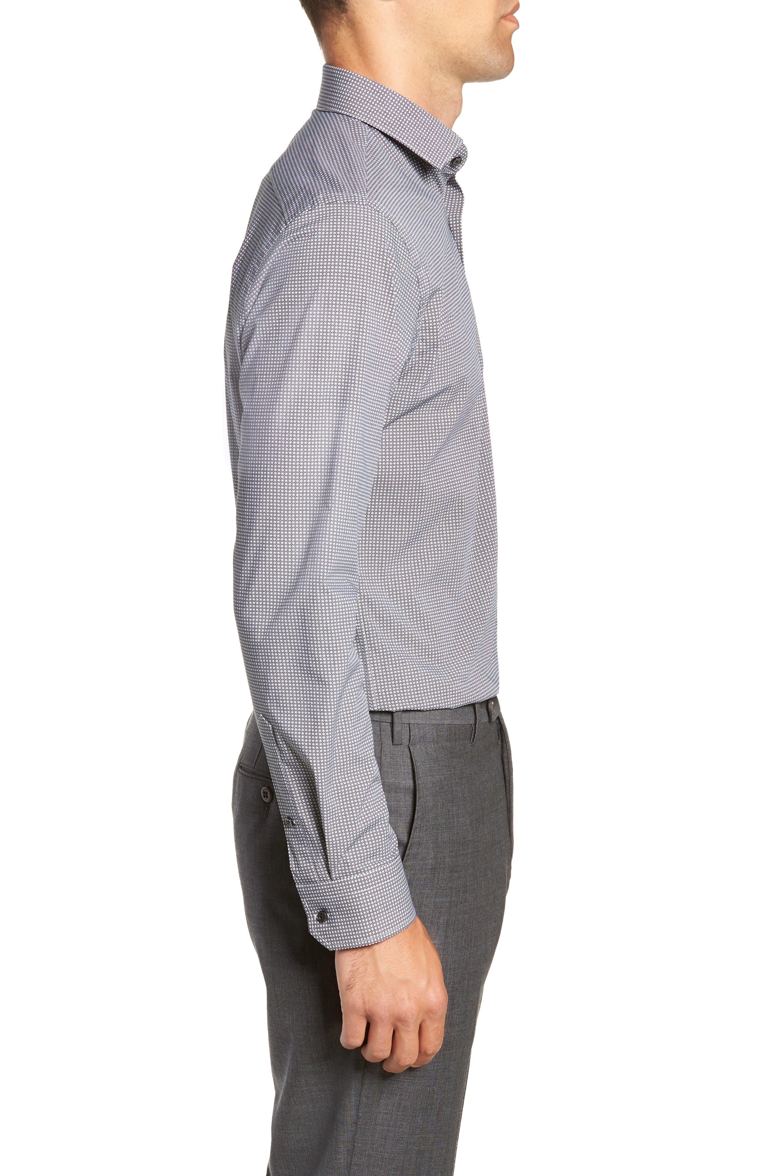 Trim Fit Stretch Non-Iron Geometric Dress Shirt,                             Alternate thumbnail 4, color,                             BLACK ROCK