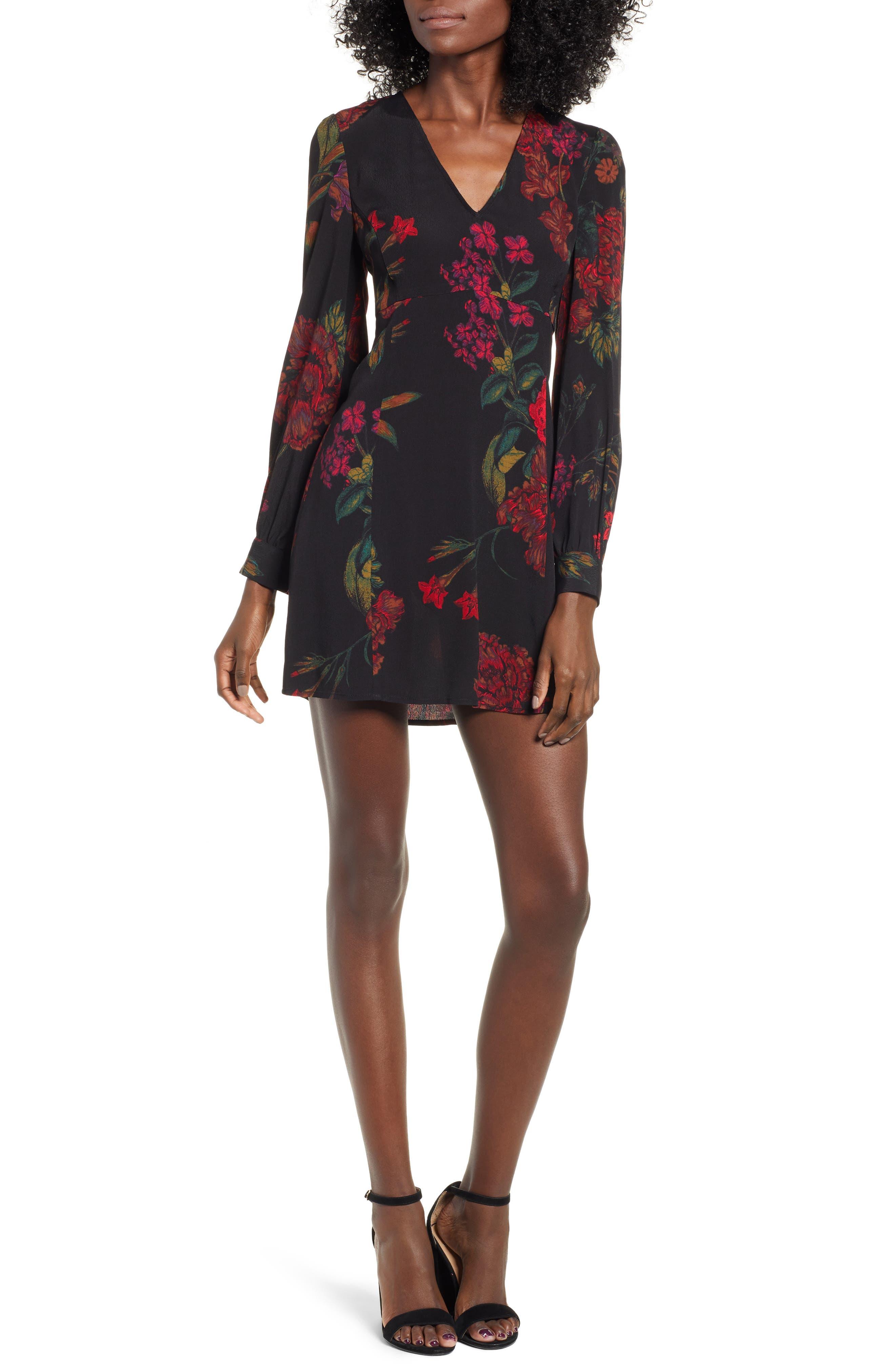 Leith V-Neck Floral Print Minidress, Black