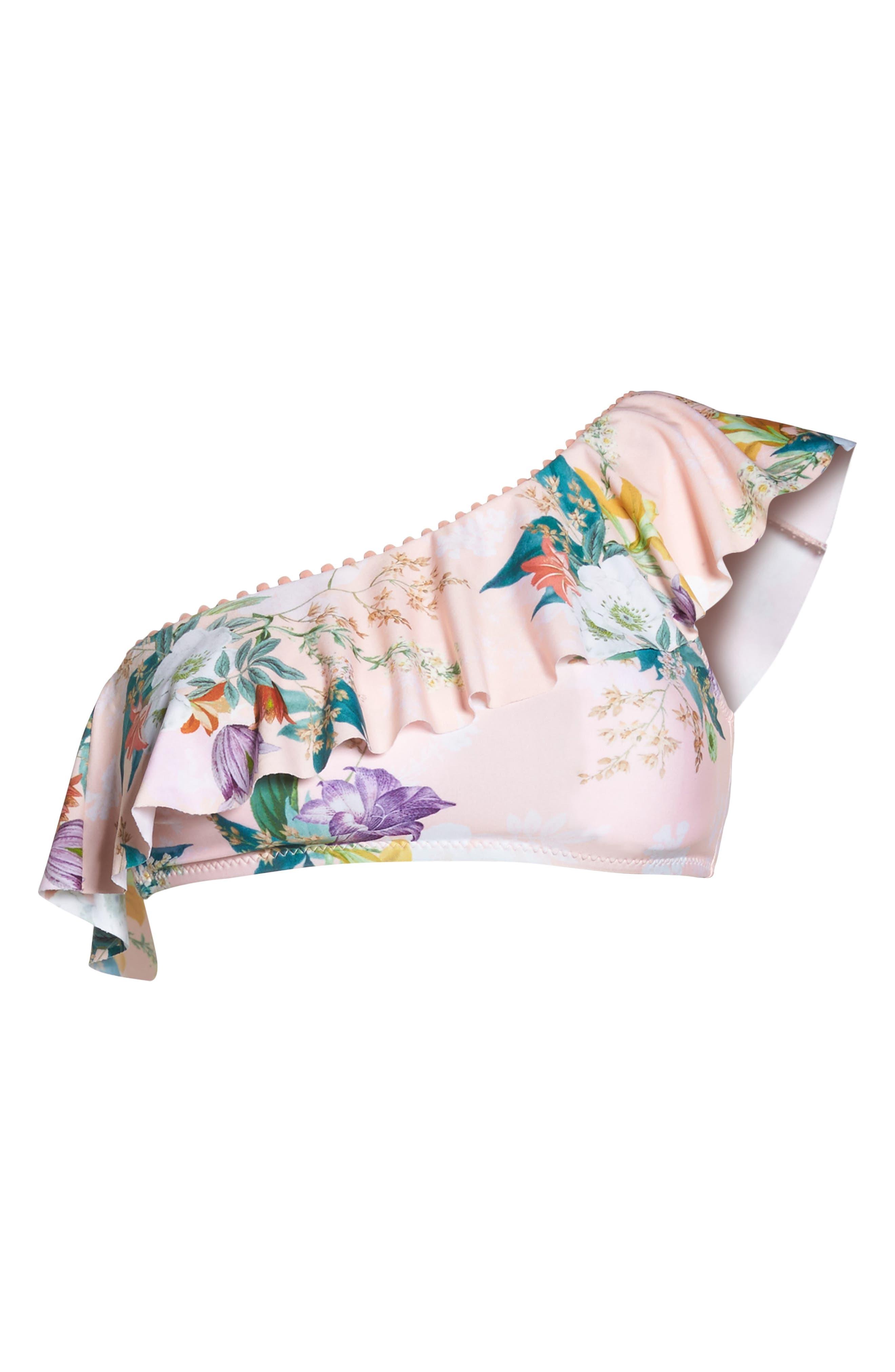 Blossoms Asymmetrical Bikini Top,                             Alternate thumbnail 6, color,                             950