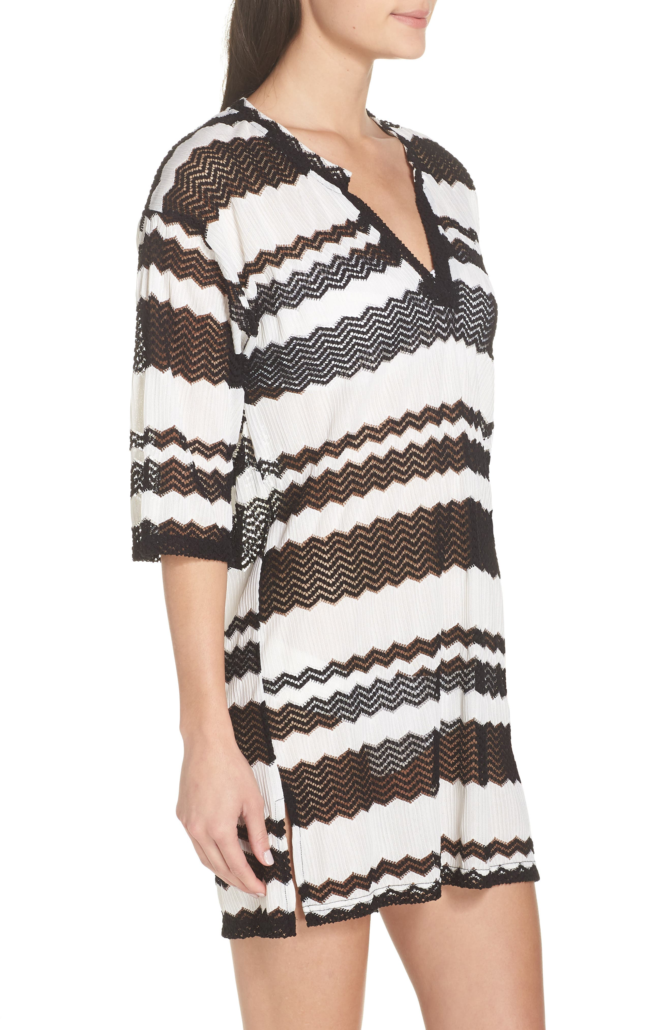 V-Neck Cover-Up Tunic,                             Alternate thumbnail 3, color,                             BLACK AND WHITE