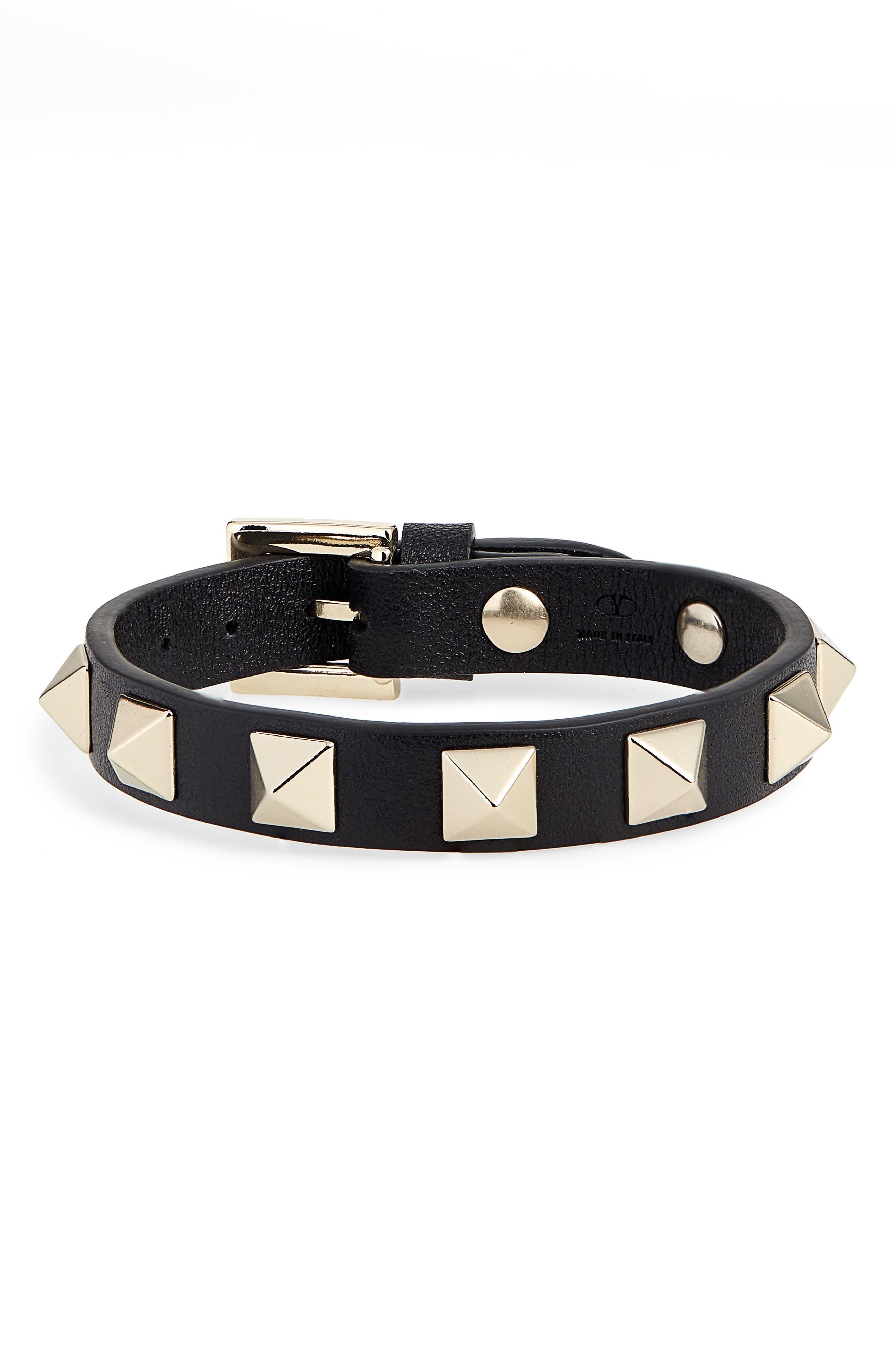 Rockstud Small Leather Bracelet,                             Main thumbnail 1, color,                             001