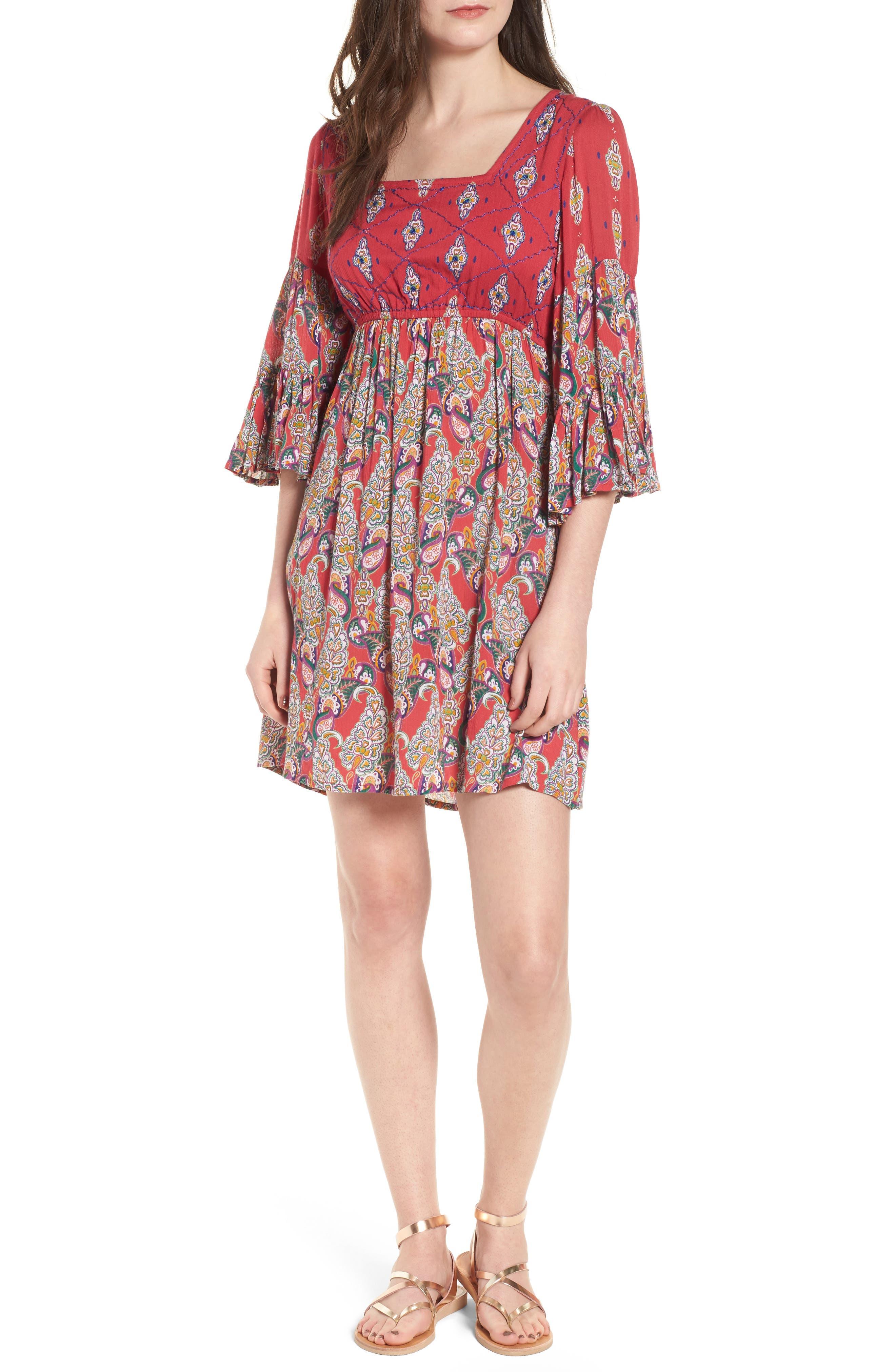 Alice Bell Sleeve Babydoll Dress,                             Main thumbnail 1, color,                             645