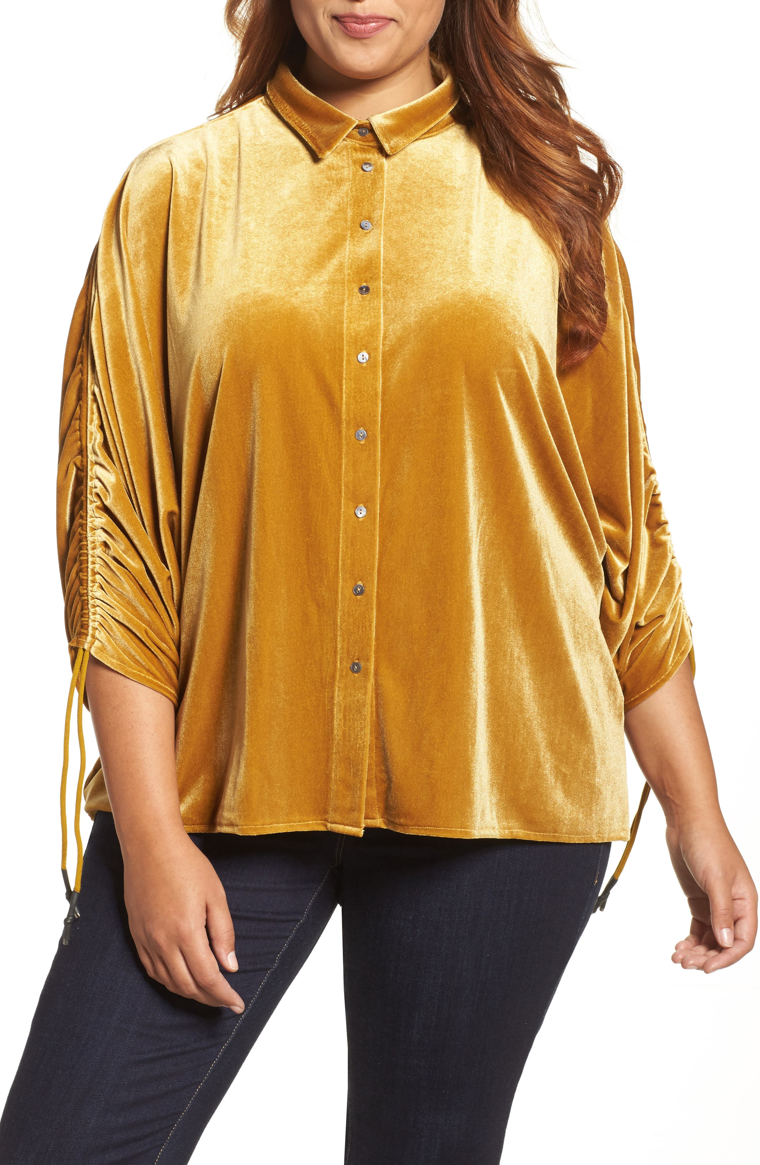 Velvet Velvet Gathered Sleeve Button Down Shirt,                             Main thumbnail 1, color,                             700
