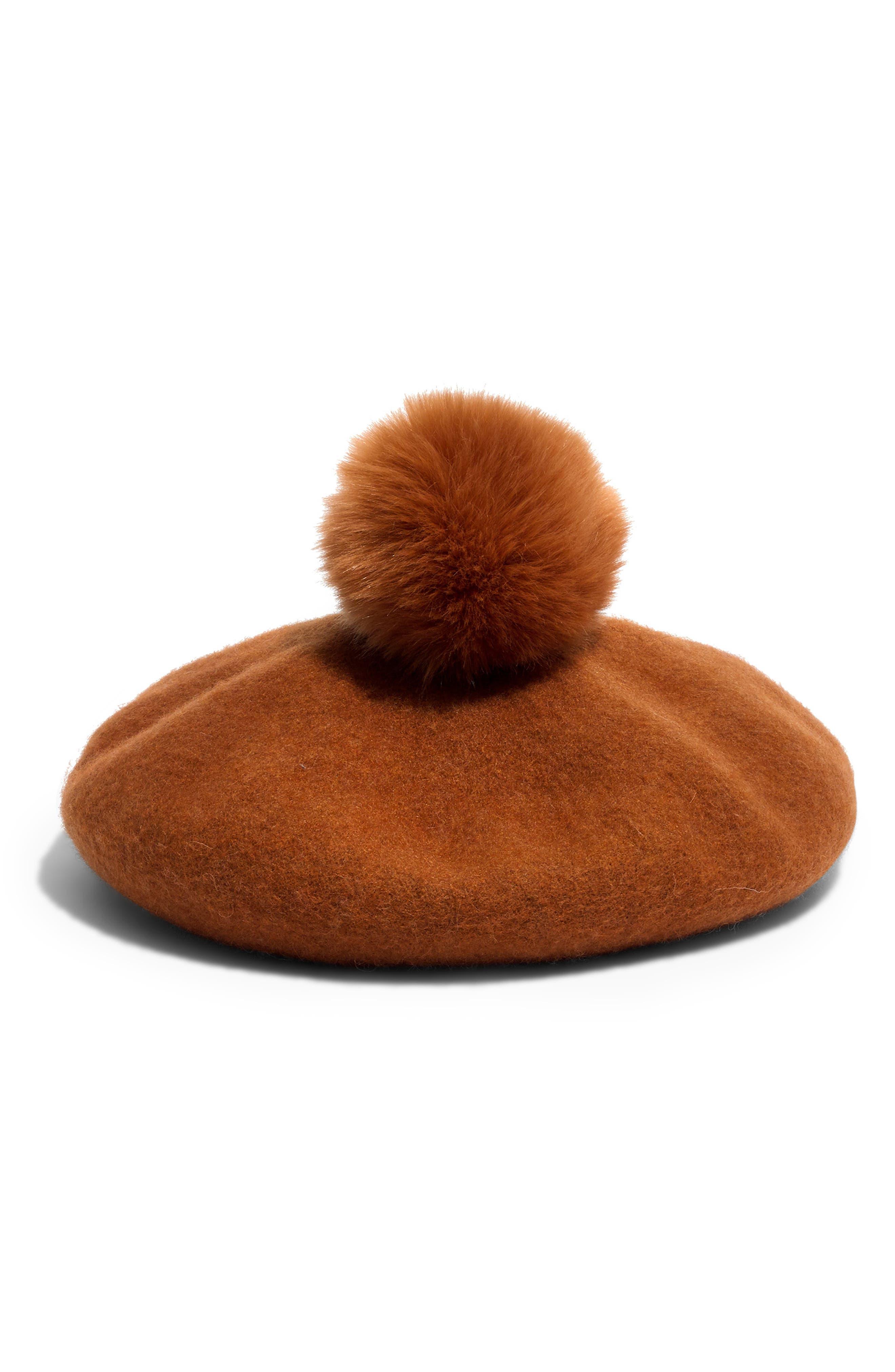 Faux Fur Pompom Beret, Main, color, GOLDEN PECAN