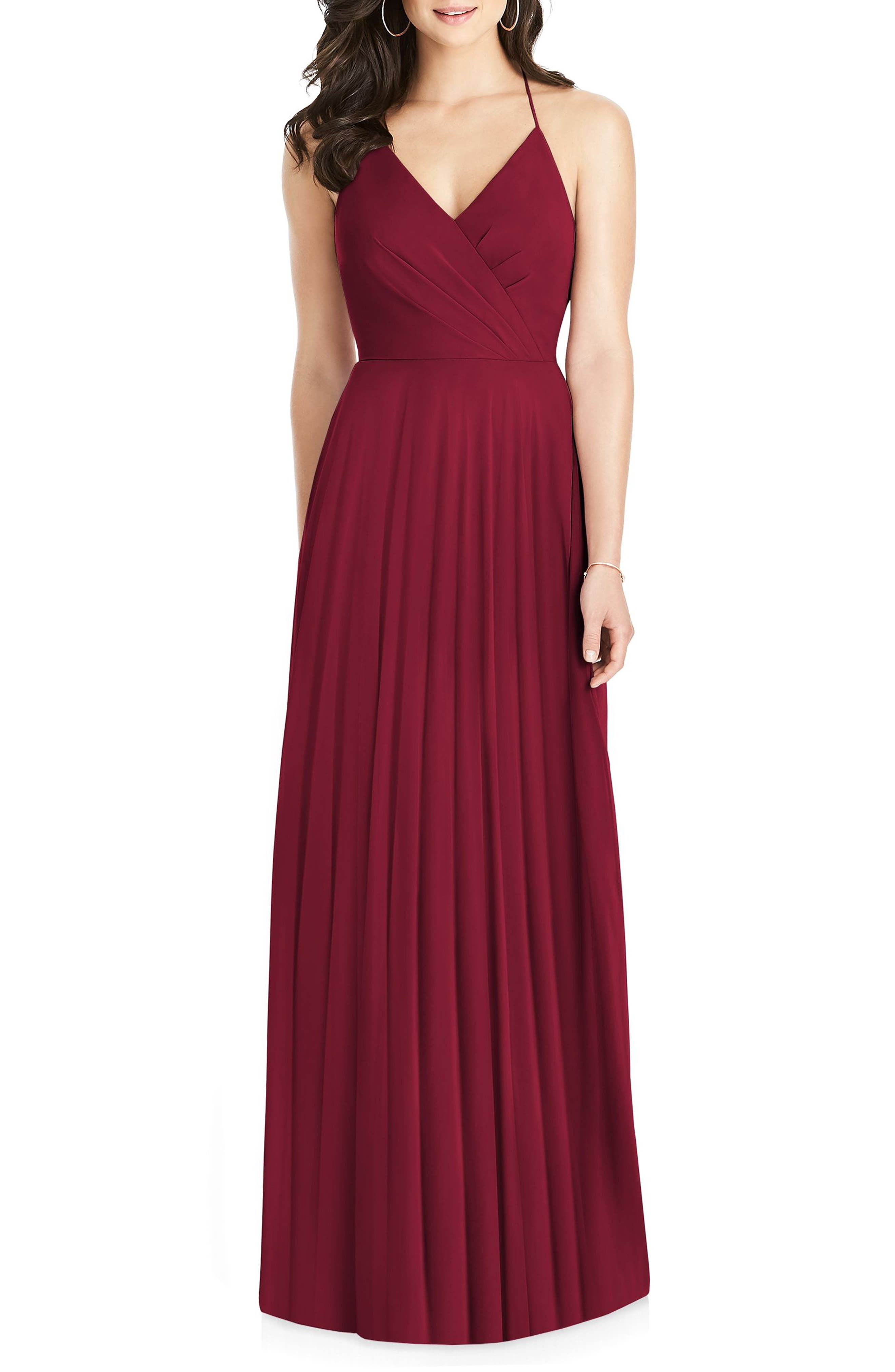 Dessy Collection Ruffle Back Chiffon Gown, Burgundy