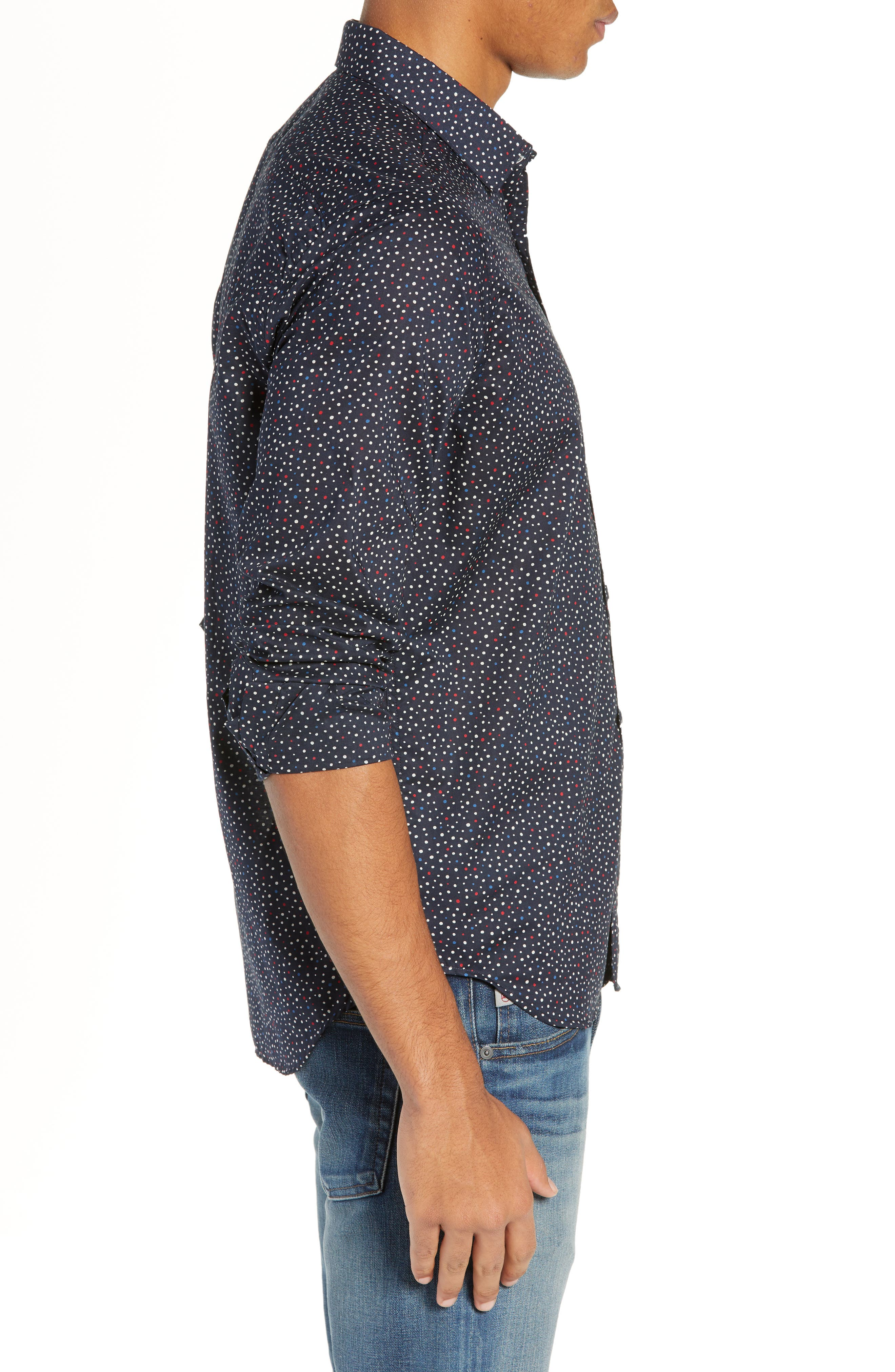 Jenks Slim Fit Long Sleeve Sport Shirt,                             Alternate thumbnail 4, color,                             BLACK