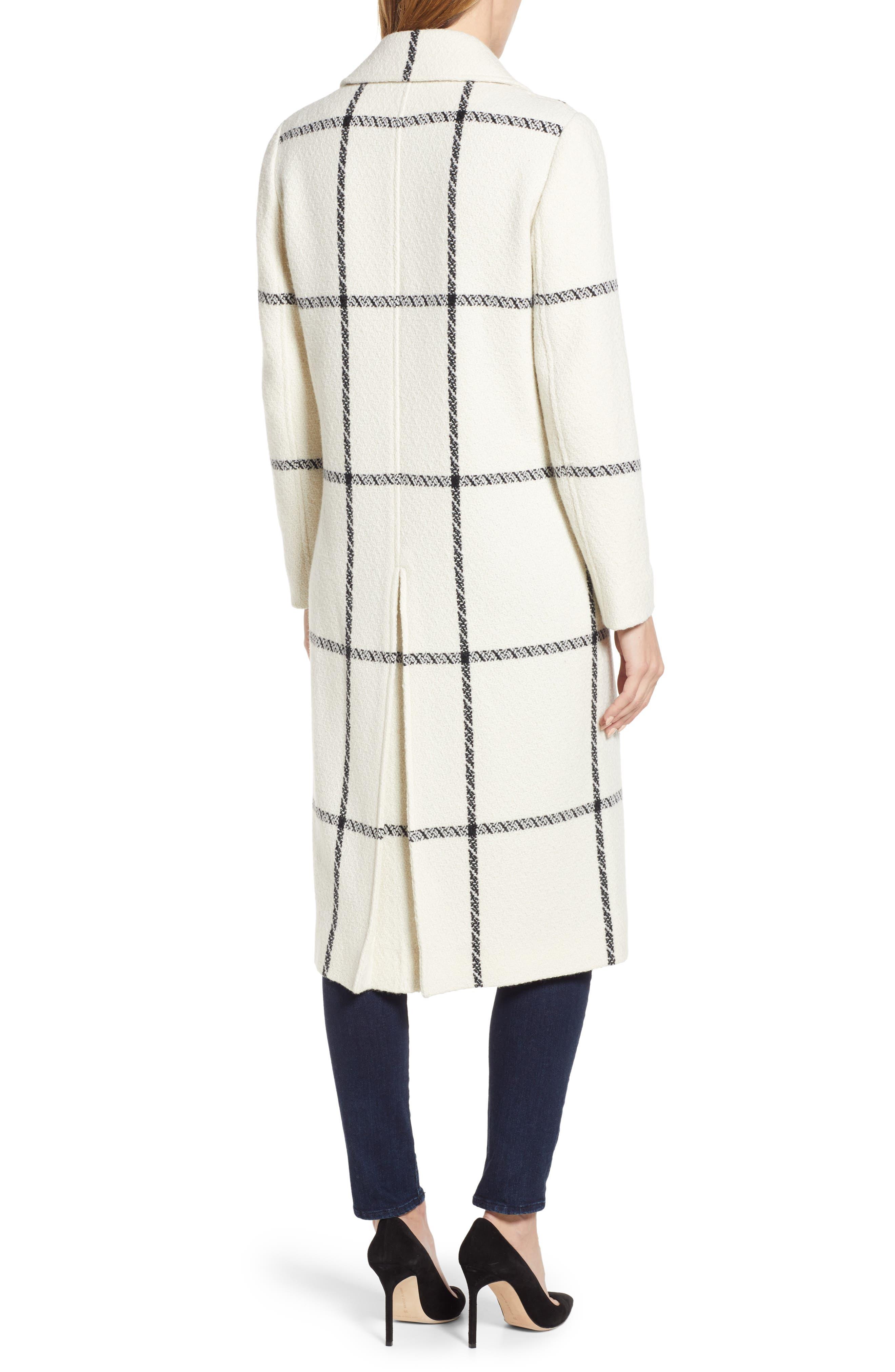 TED BAKER LONDON,                             Soniq Check Wool Blend Long Coat,                             Alternate thumbnail 2, color,                             92-IVORY