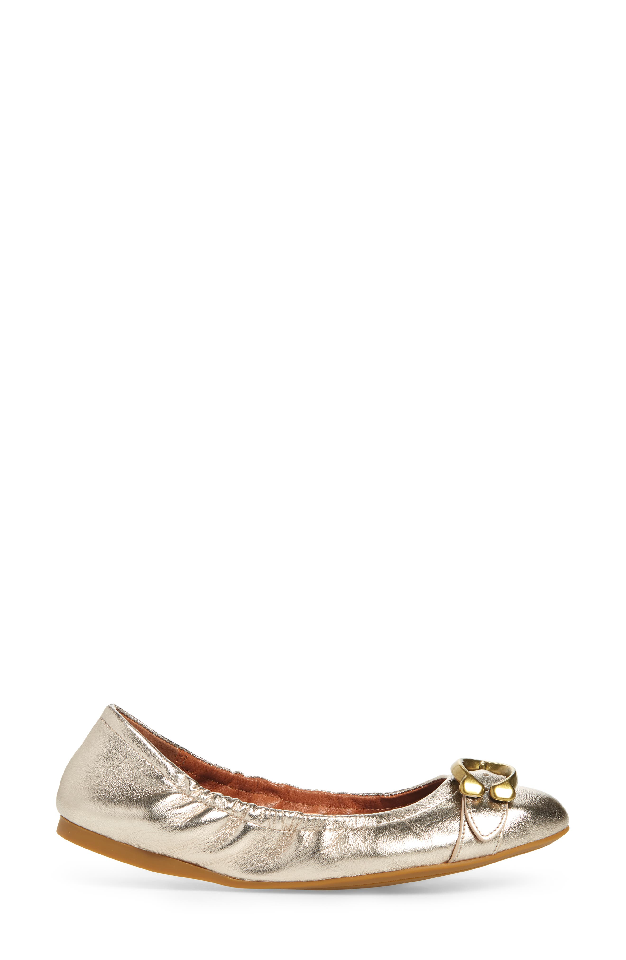 Stanton Buckle Flat,                             Alternate thumbnail 3, color,                             CHAMPAGNE METALLIC LEATHER