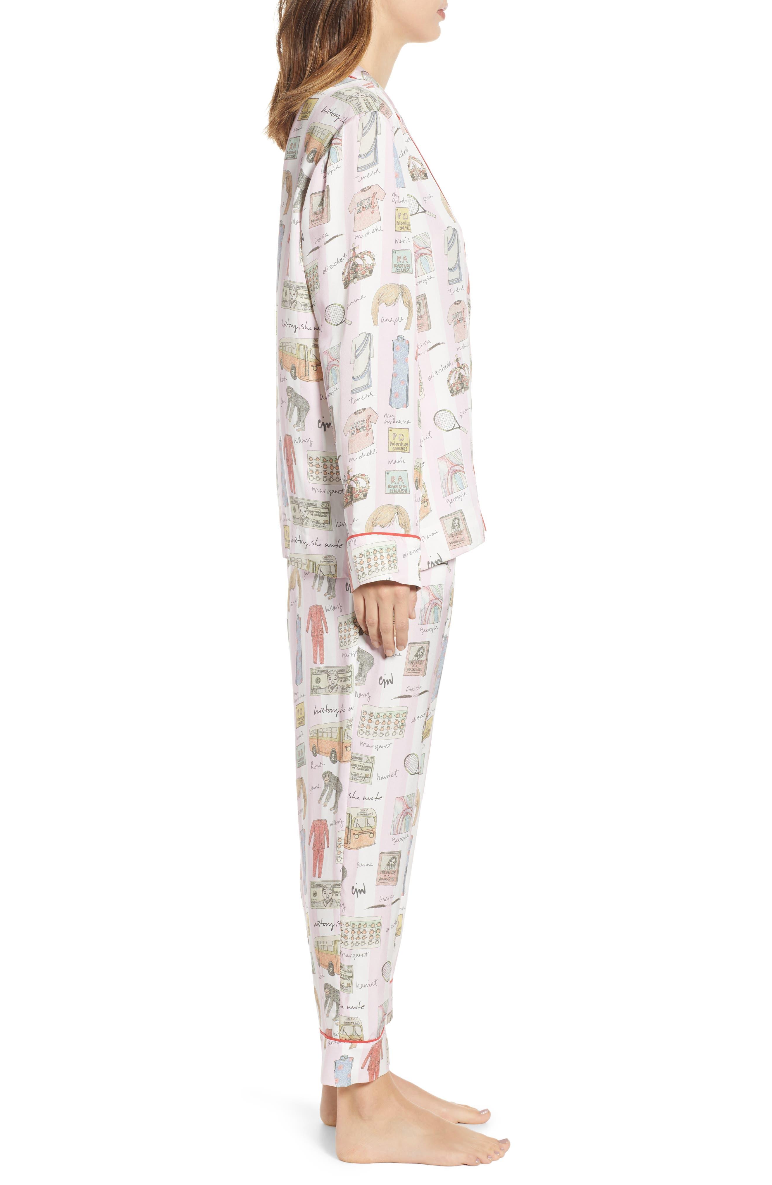 History, She Wrote Pajamas & Eye Mask,                             Alternate thumbnail 3, color,                             PINK