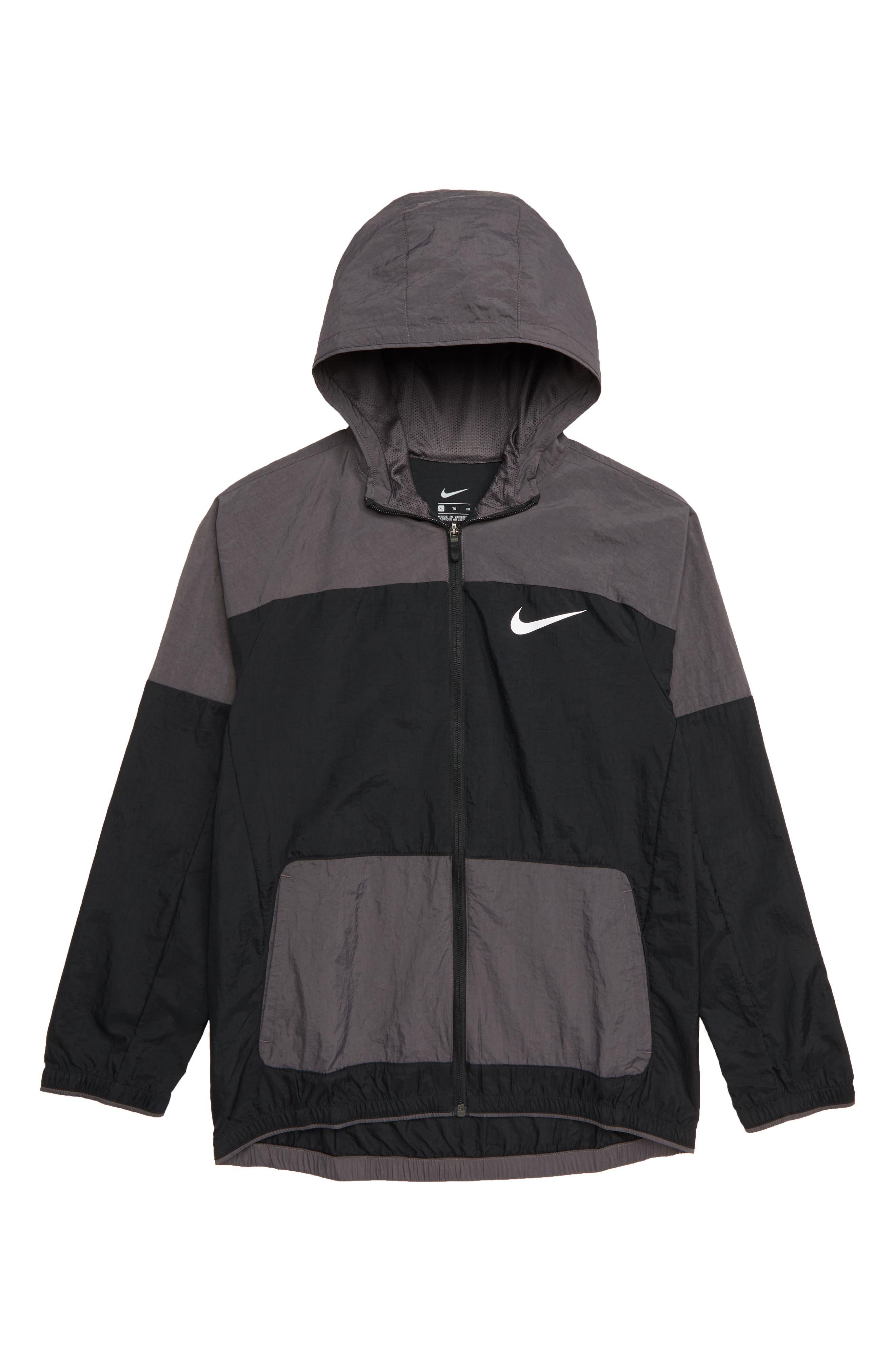 Dry Hooded Jacket, Main, color, BLACK/ THUNDER GREY