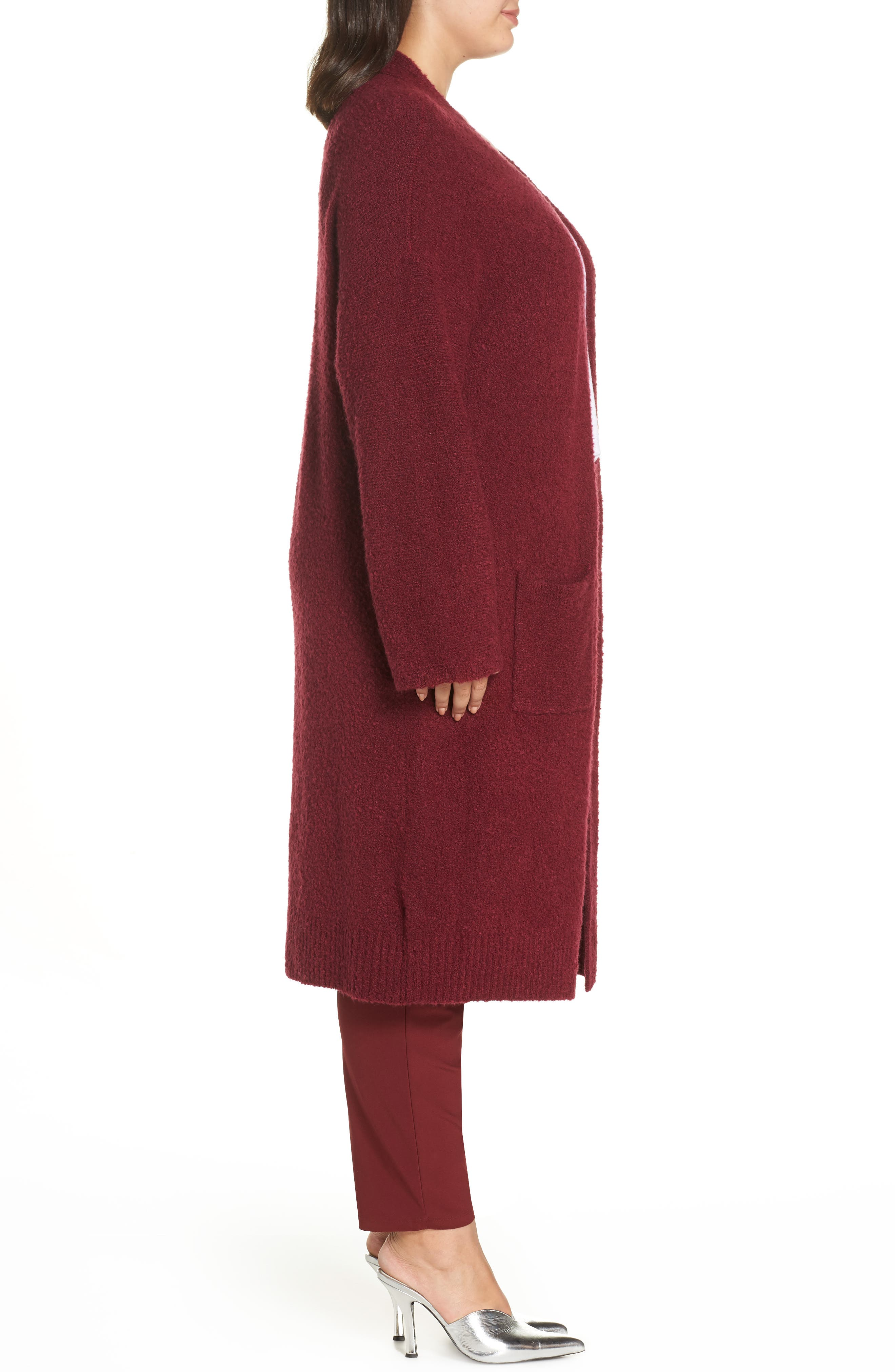 Bouclé Long Cardigan,                             Alternate thumbnail 3, color,                             RED GRAPE
