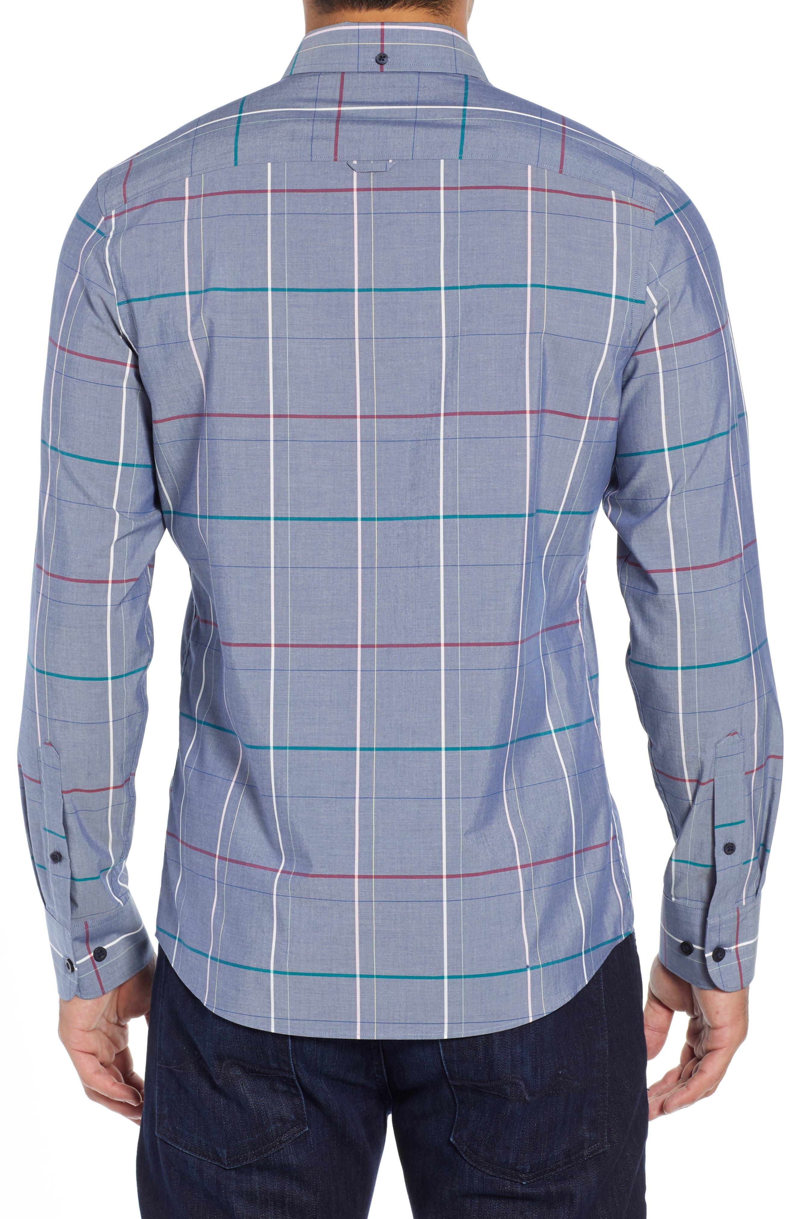 Tech-Smart Slim Fit Multi Pane Sport Shirt,                             Alternate thumbnail 3, color,                             BLUE CHAMBRAY MULTI PANE
