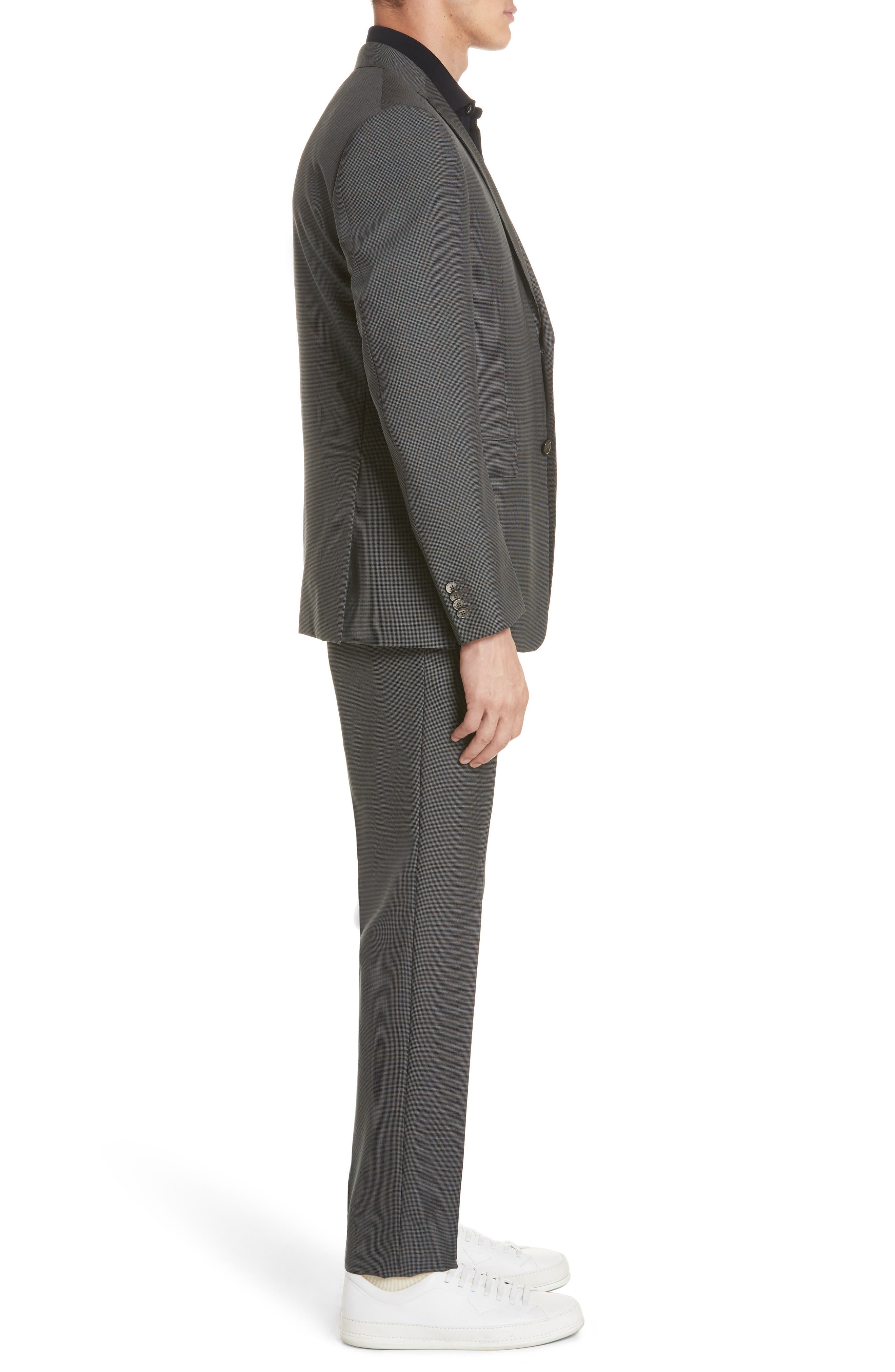 Trim Fit Houndstooth Wool & Silk Suit,                             Alternate thumbnail 3, color,                             026