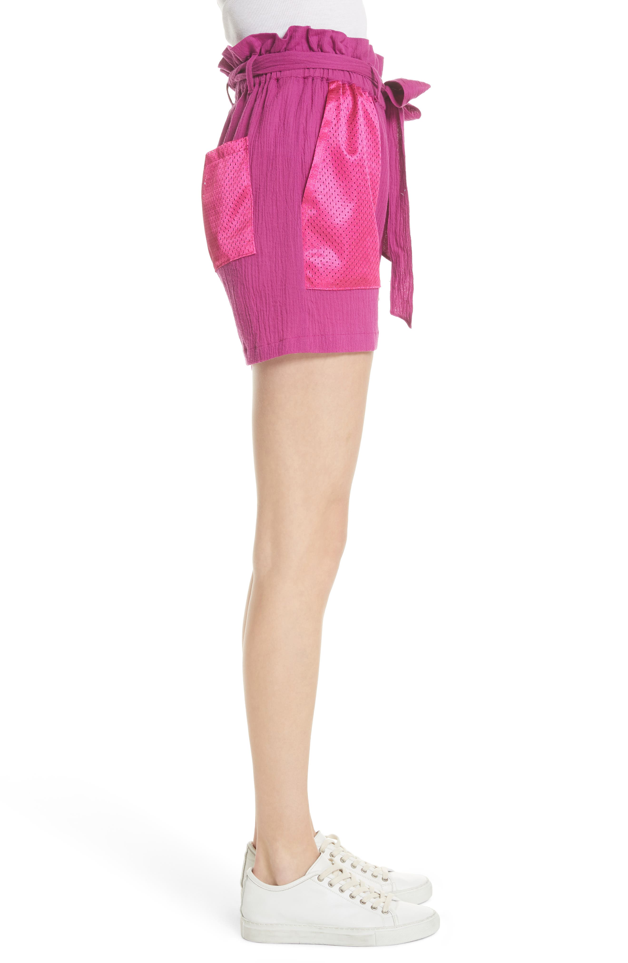 Island Mesh Pocket Shorts,                             Alternate thumbnail 3, color,                             MAGENTA