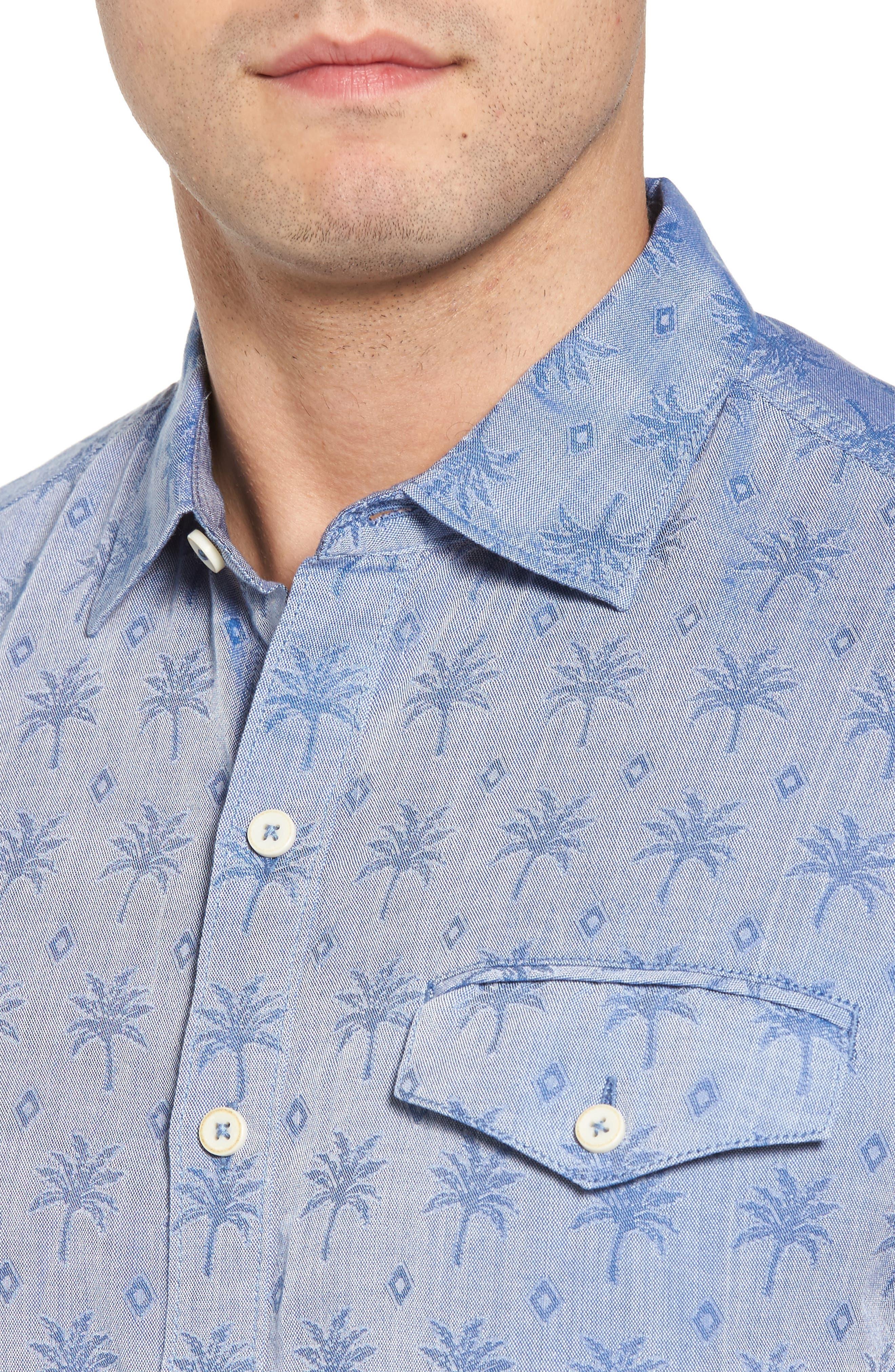Palm Palm Regular Fit Jacquard Sport Shirt,                             Alternate thumbnail 4, color,                             400