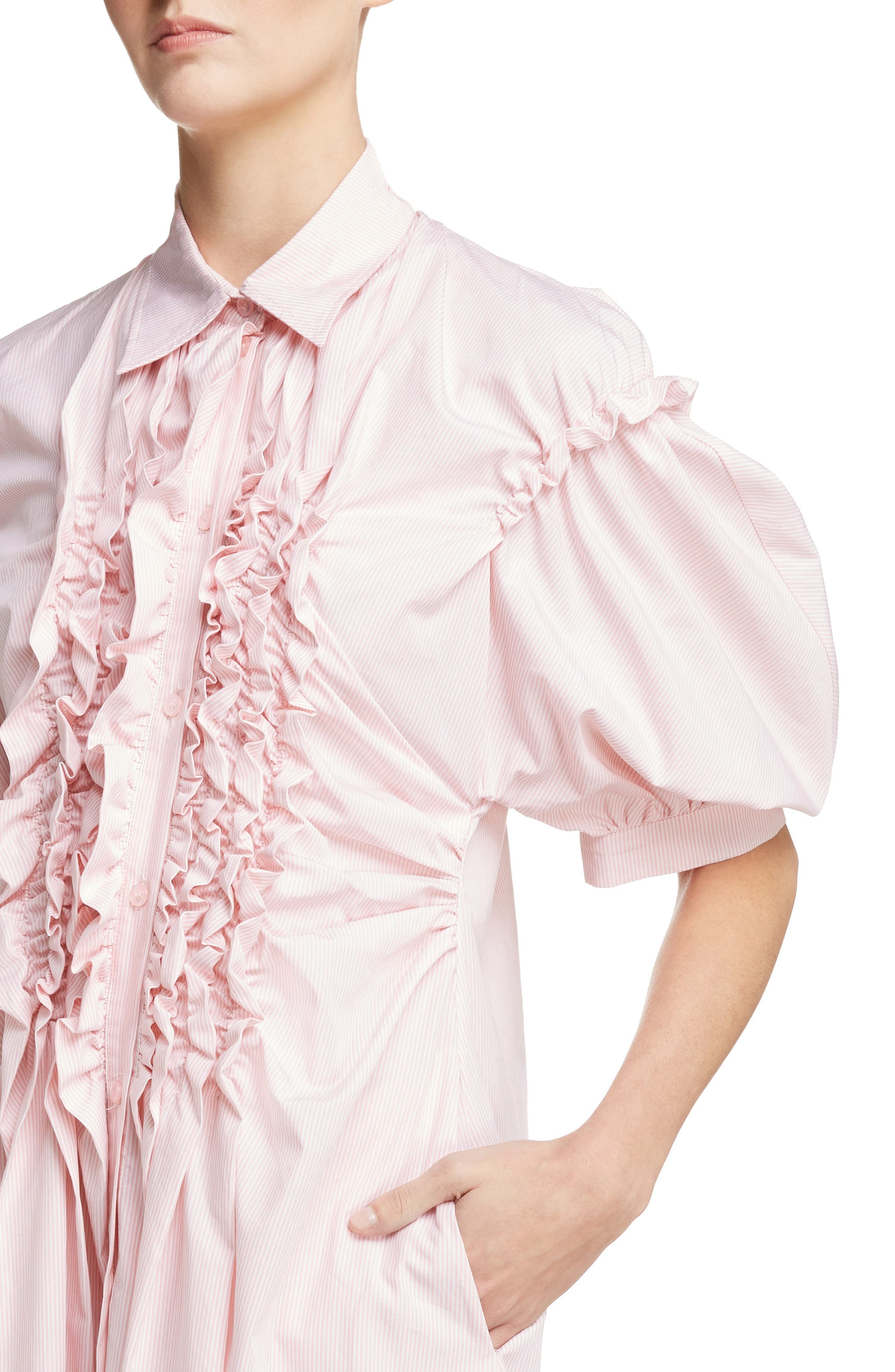 Stripe Frill Shirtdress,                             Alternate thumbnail 4, color,                             650