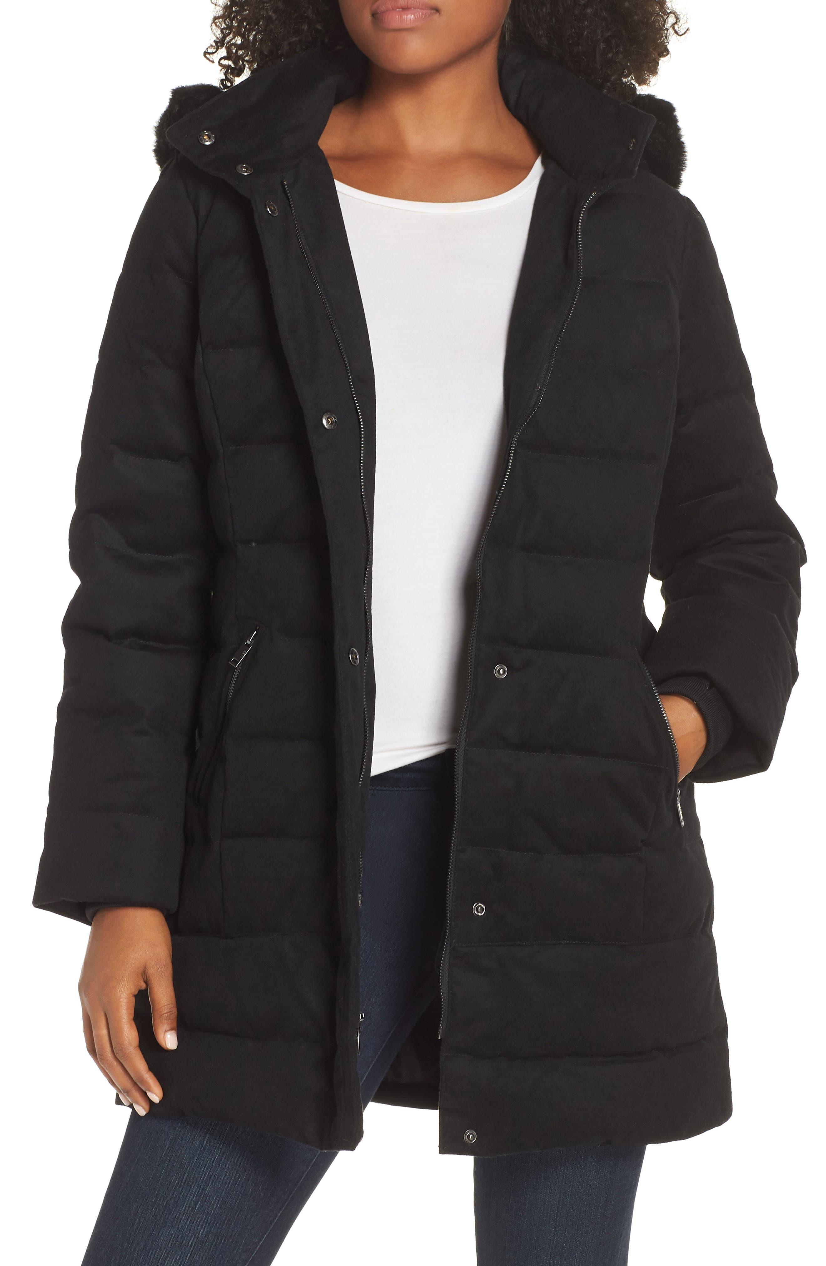 Celeste Genuine Shearling Trim Down Coat,                         Main,                         color, BLACK