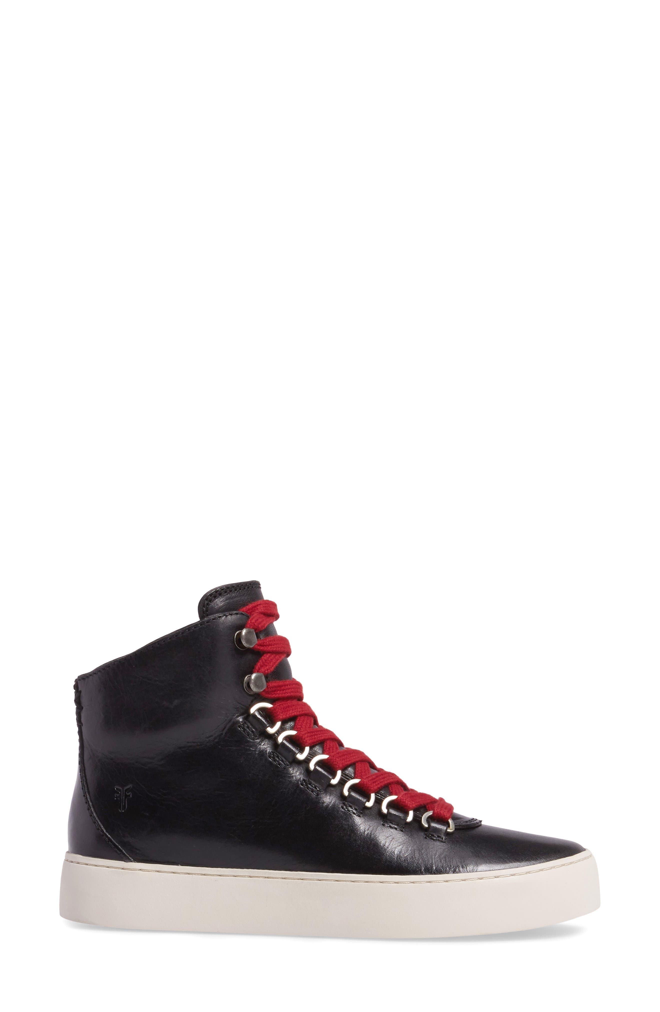 Lena Hiker High Top Sneaker,                             Alternate thumbnail 3, color,                             001