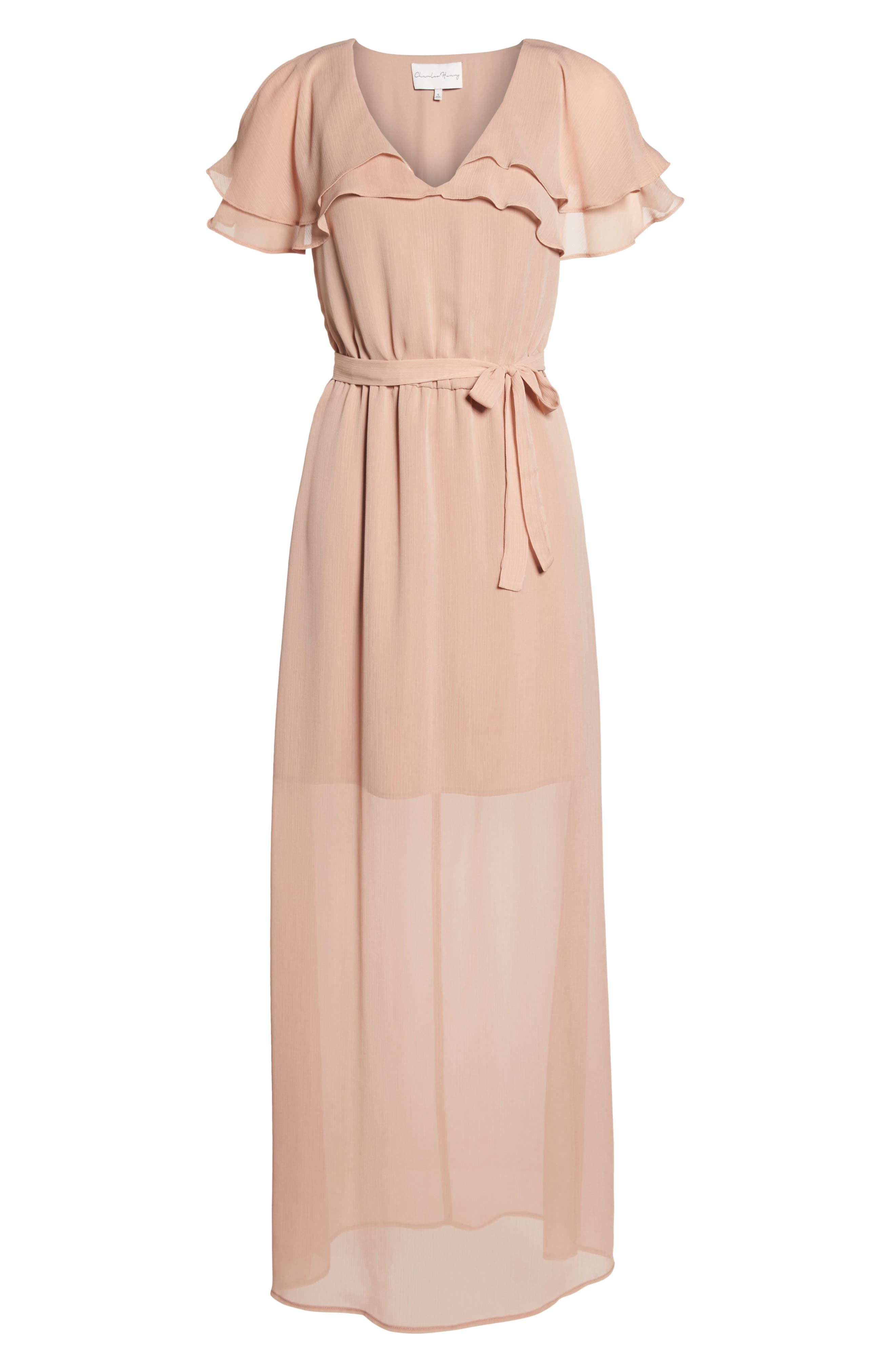 Split Sleeve Ruffle Maxi Dress,                             Alternate thumbnail 6, color,                             682