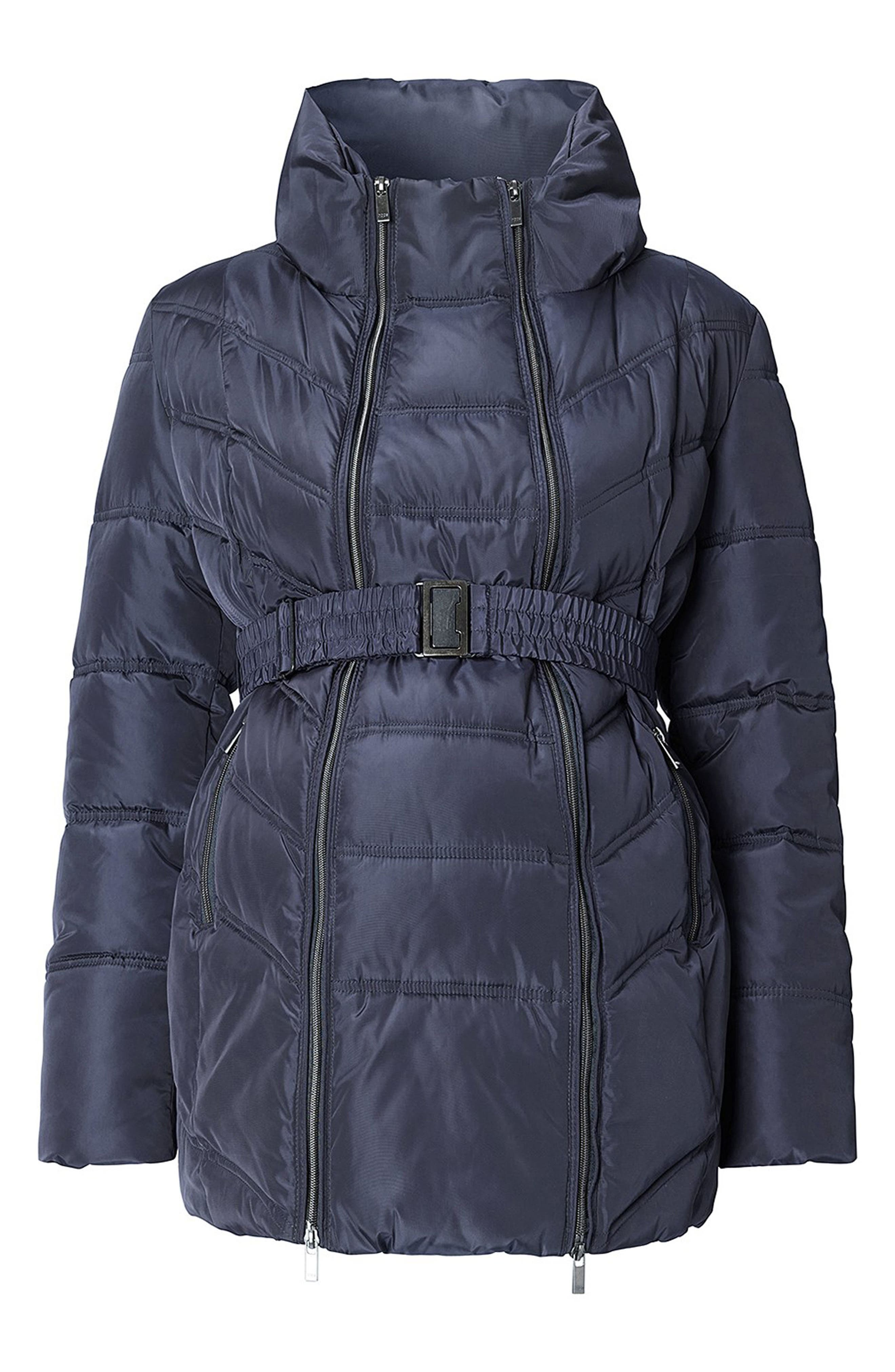 Lise Two-Way Quilted Maternity Jacket,                         Main,                         color, DARK BLUE