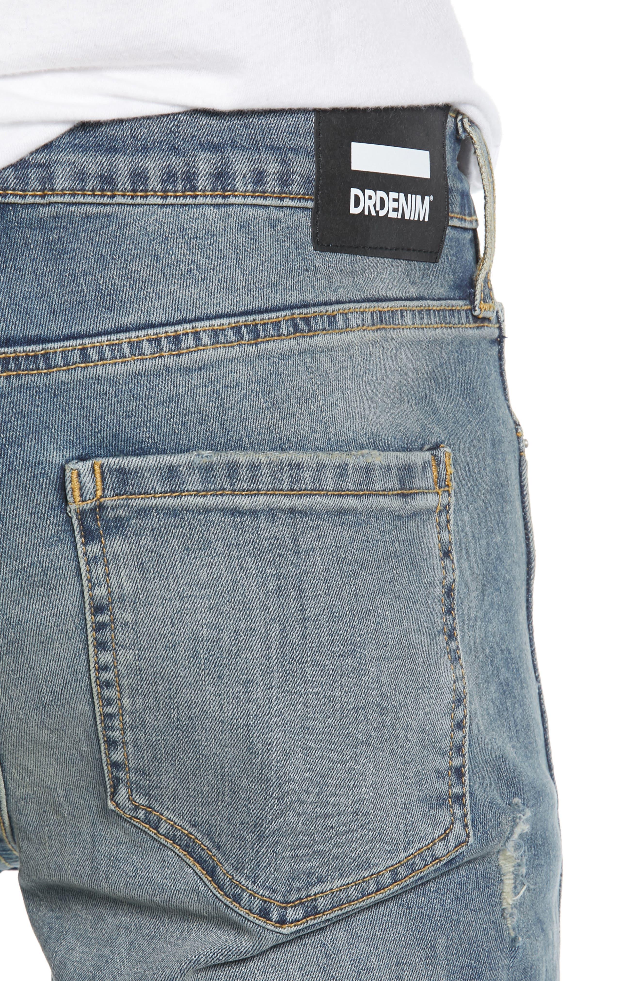 Snap Skinny Fit Jeans,                             Alternate thumbnail 4, color,                             LIGHT OLD DESTROY