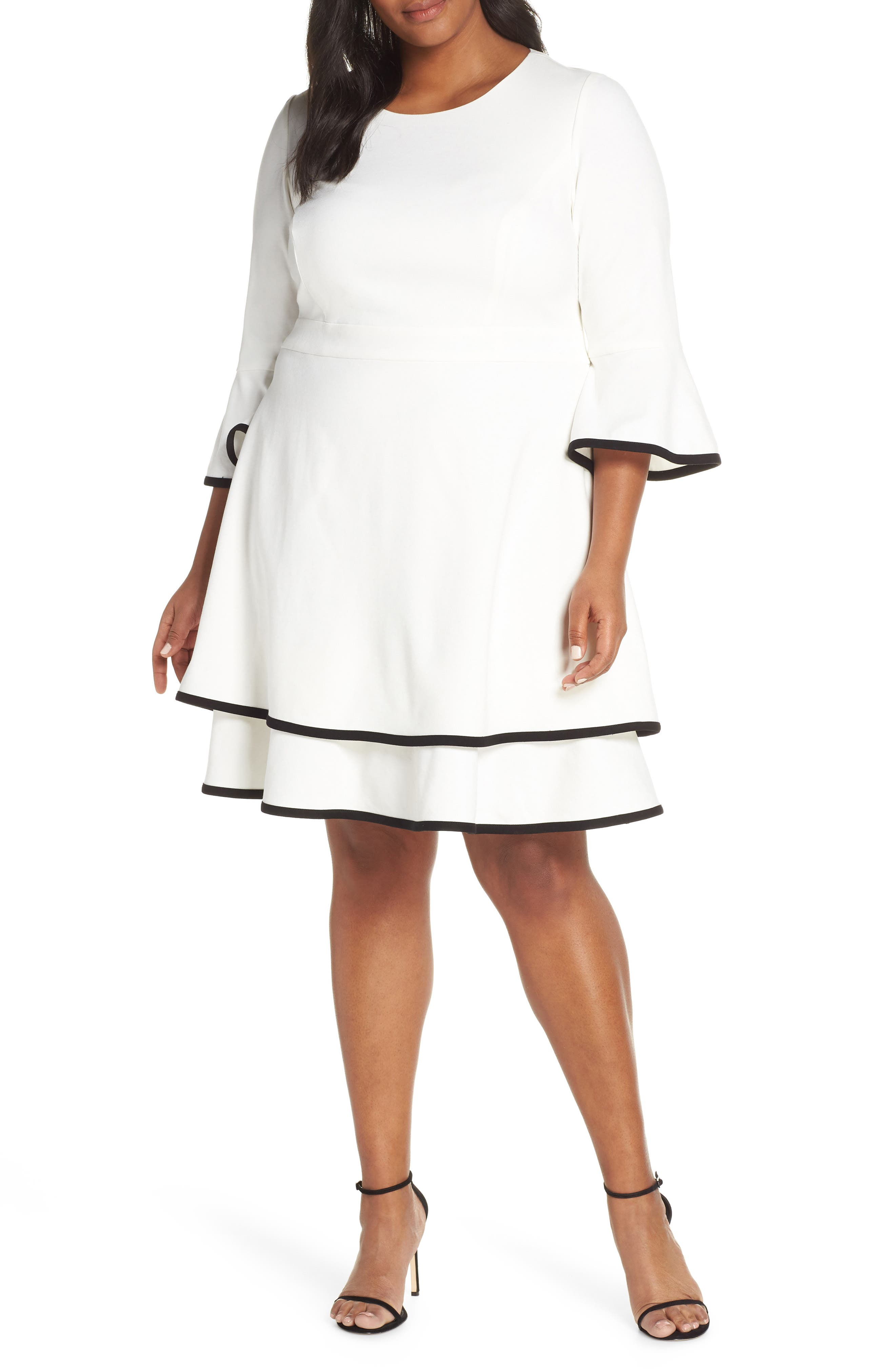 5297465a99c5c Plus Size Eliza J Bell Sleeve Tiered Fit   Flare Dress