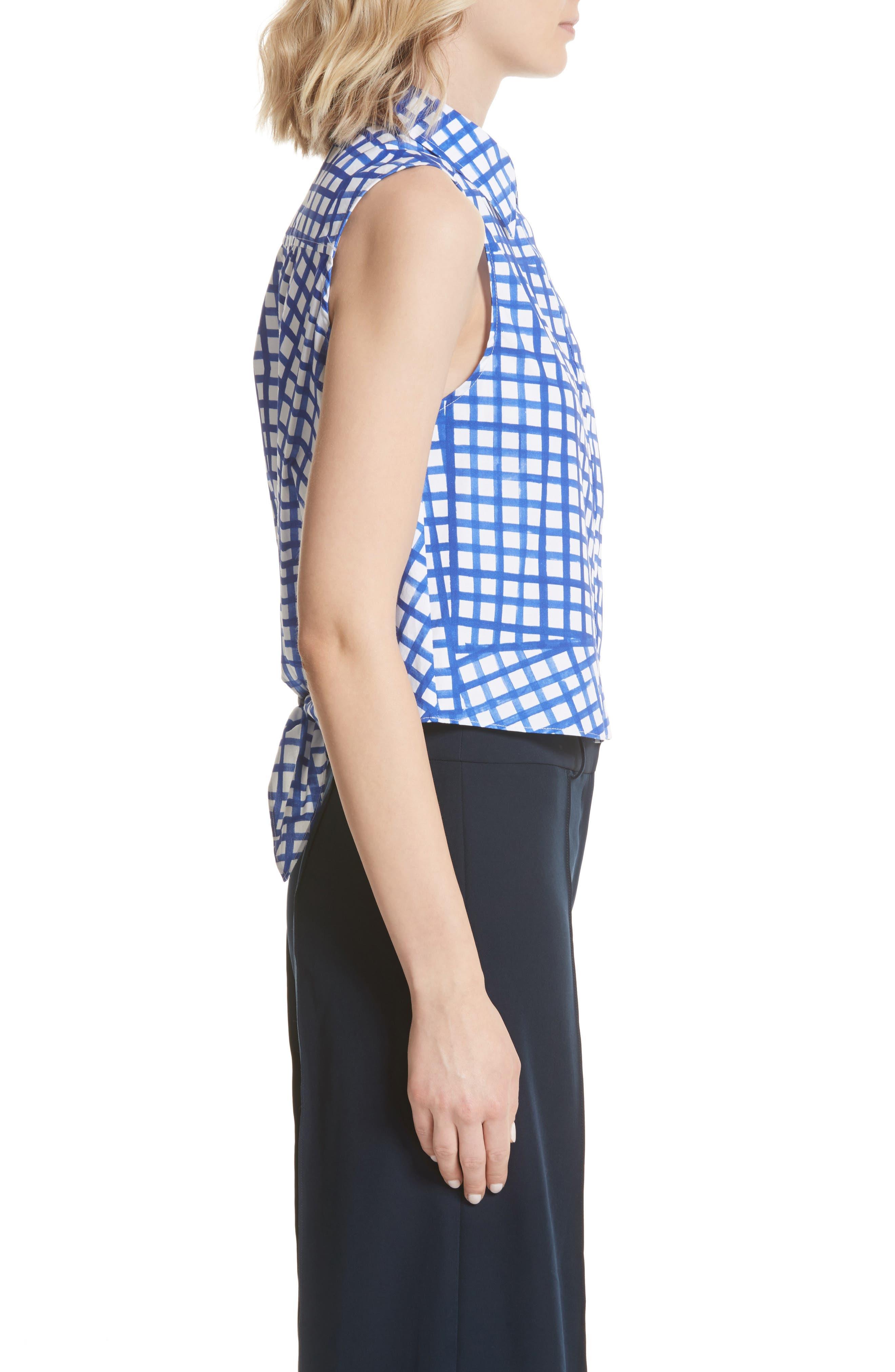 Leah Tie Back Stretch Cotton Blouse,                             Alternate thumbnail 3, color,                             473