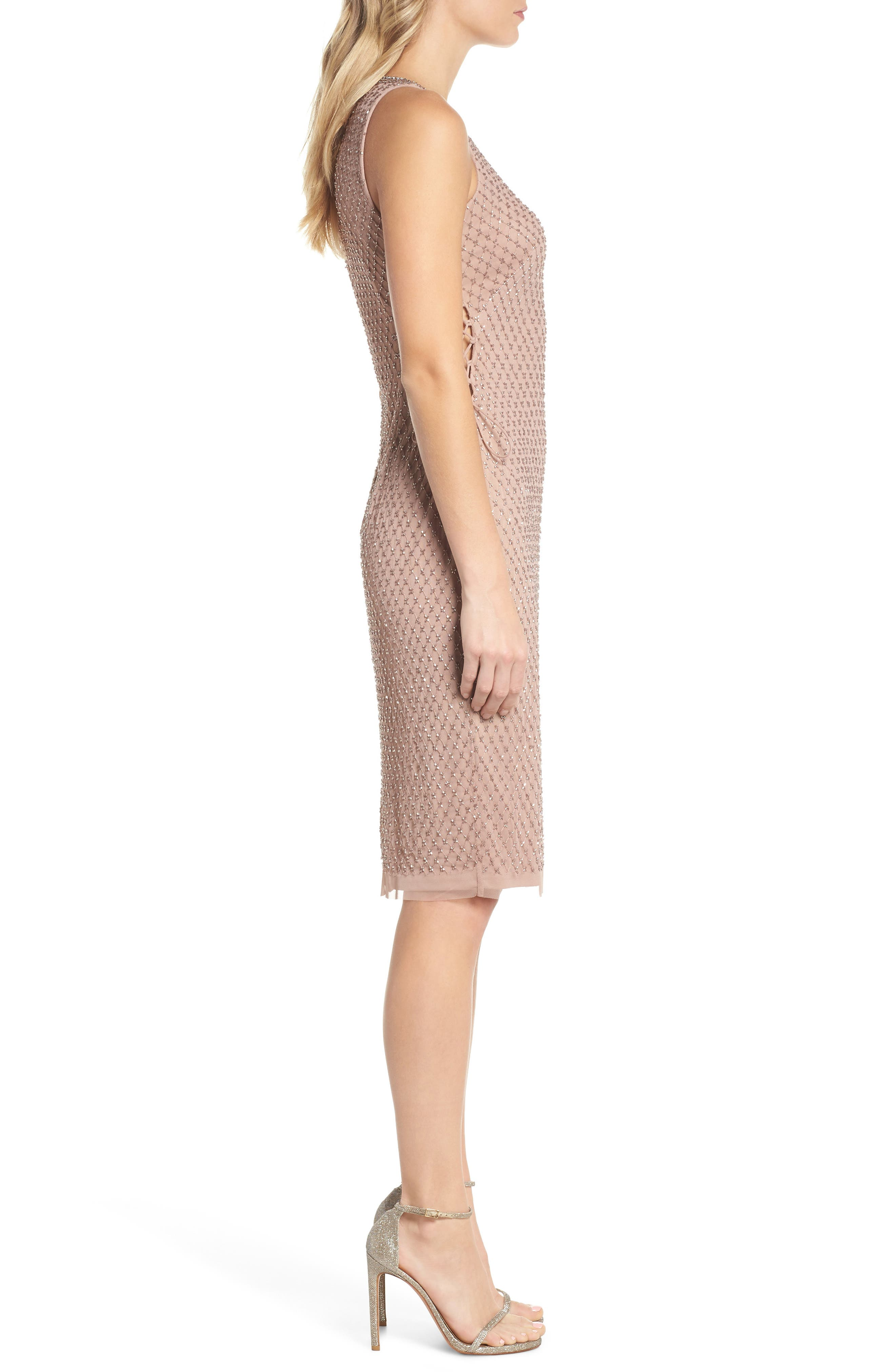 Beaded Lace-Up Dress,                             Alternate thumbnail 3, color,                             220