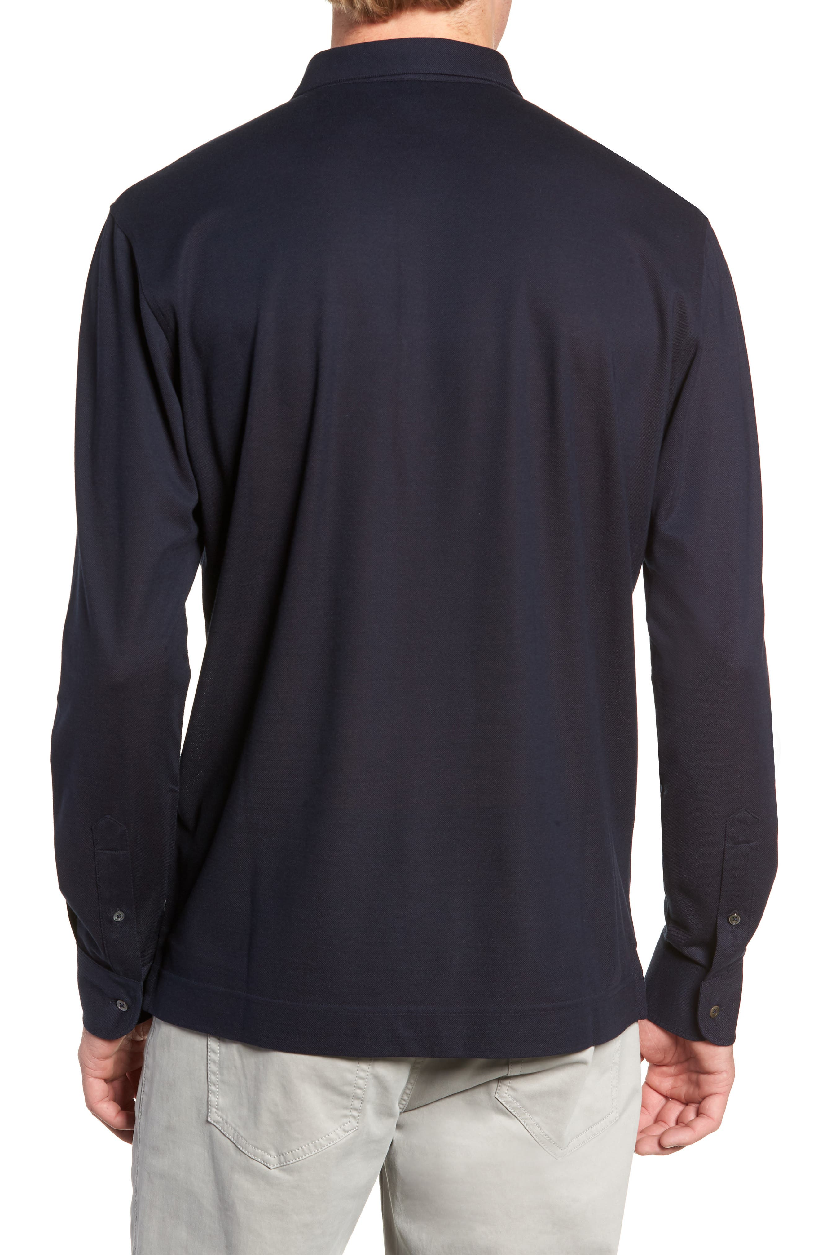 Avon Long Sleeve Silk & Cotton Polo,                             Alternate thumbnail 2, color,                             BARCHETTA
