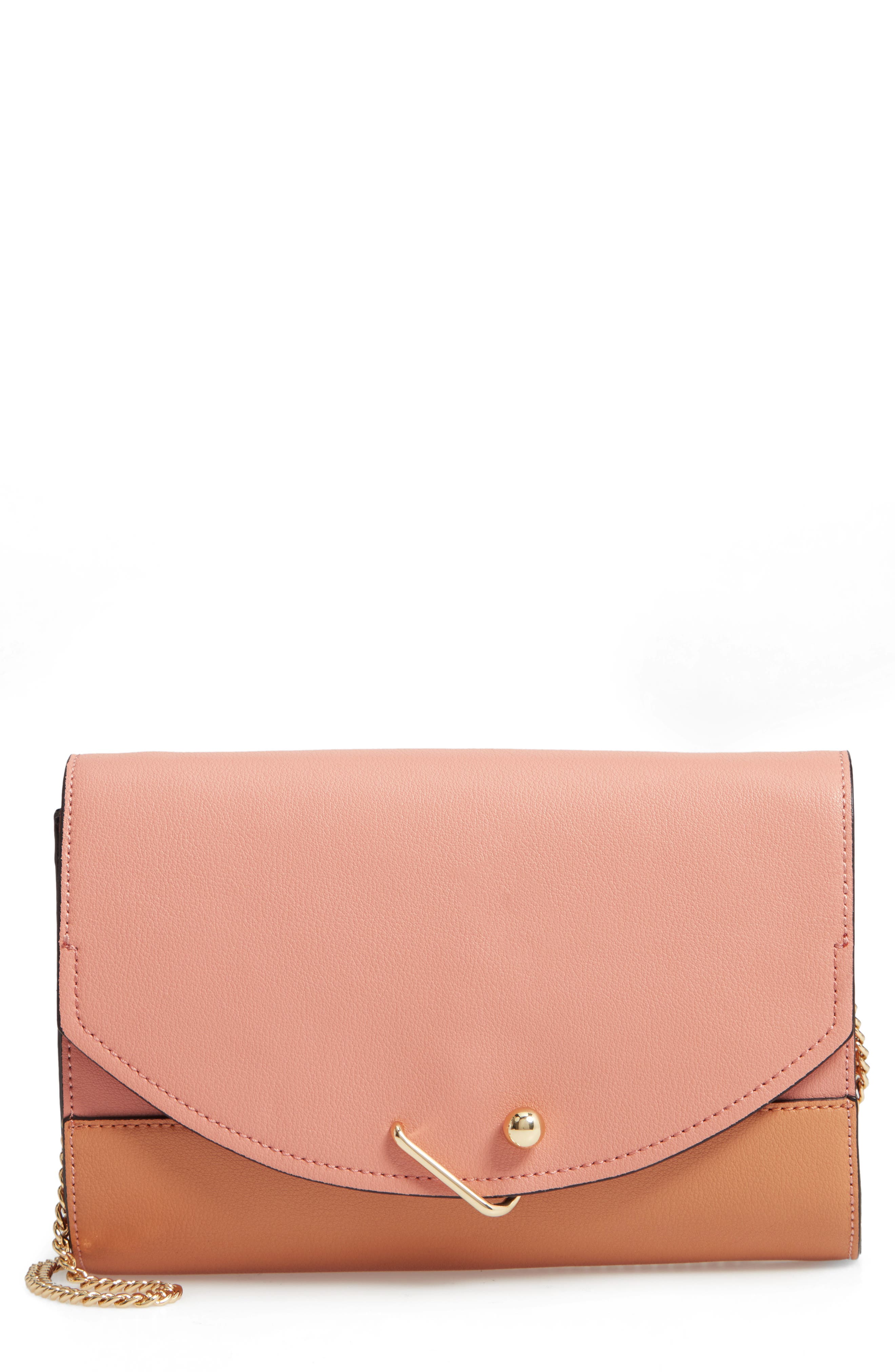 DANIELLE NICOLE Easton Colorblock Leather Clutch - Pink in Blush Combo