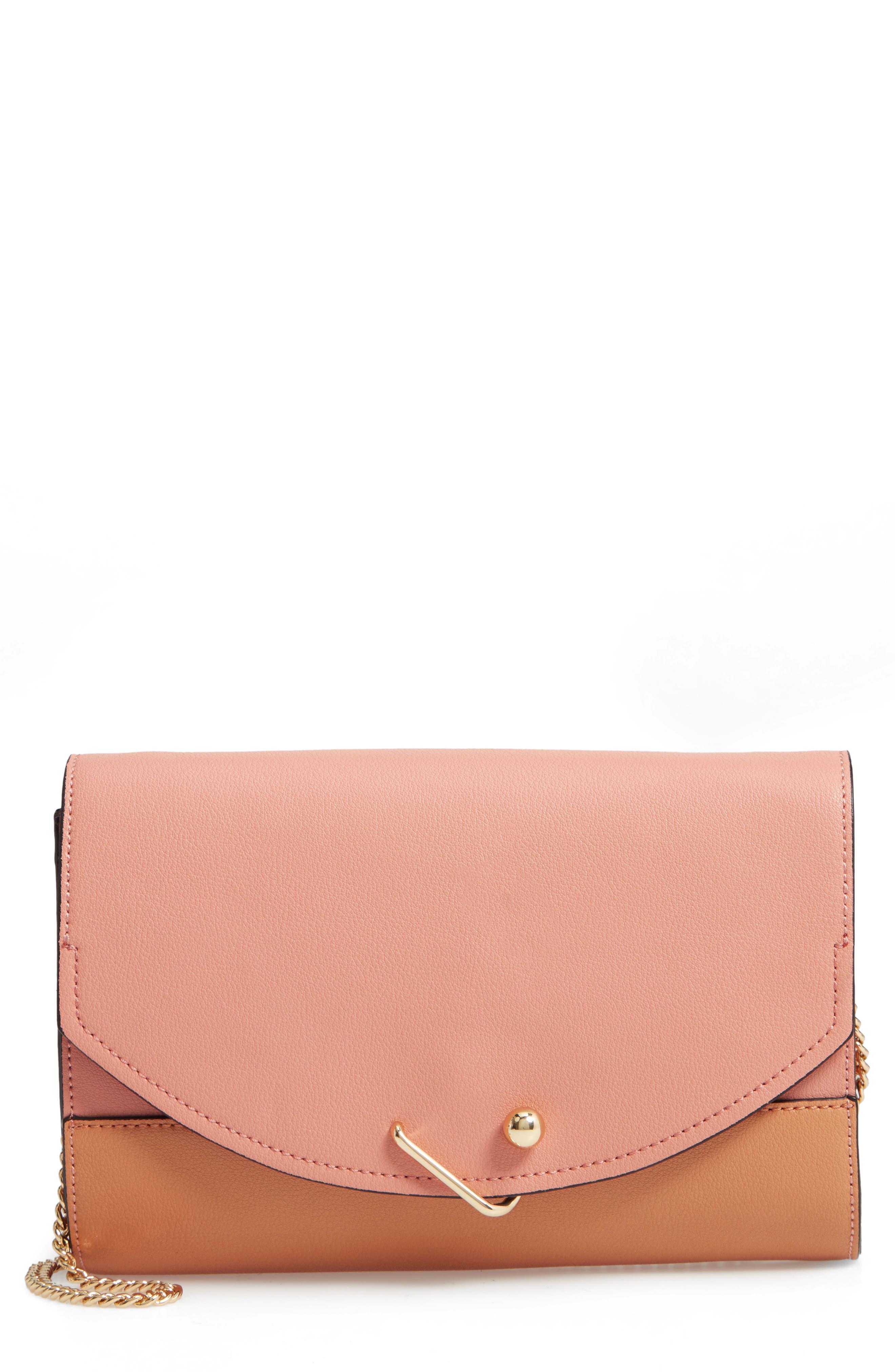 Easton Colorblock Leather Clutch,                             Main thumbnail 1, color,                             BLUSH COMBO