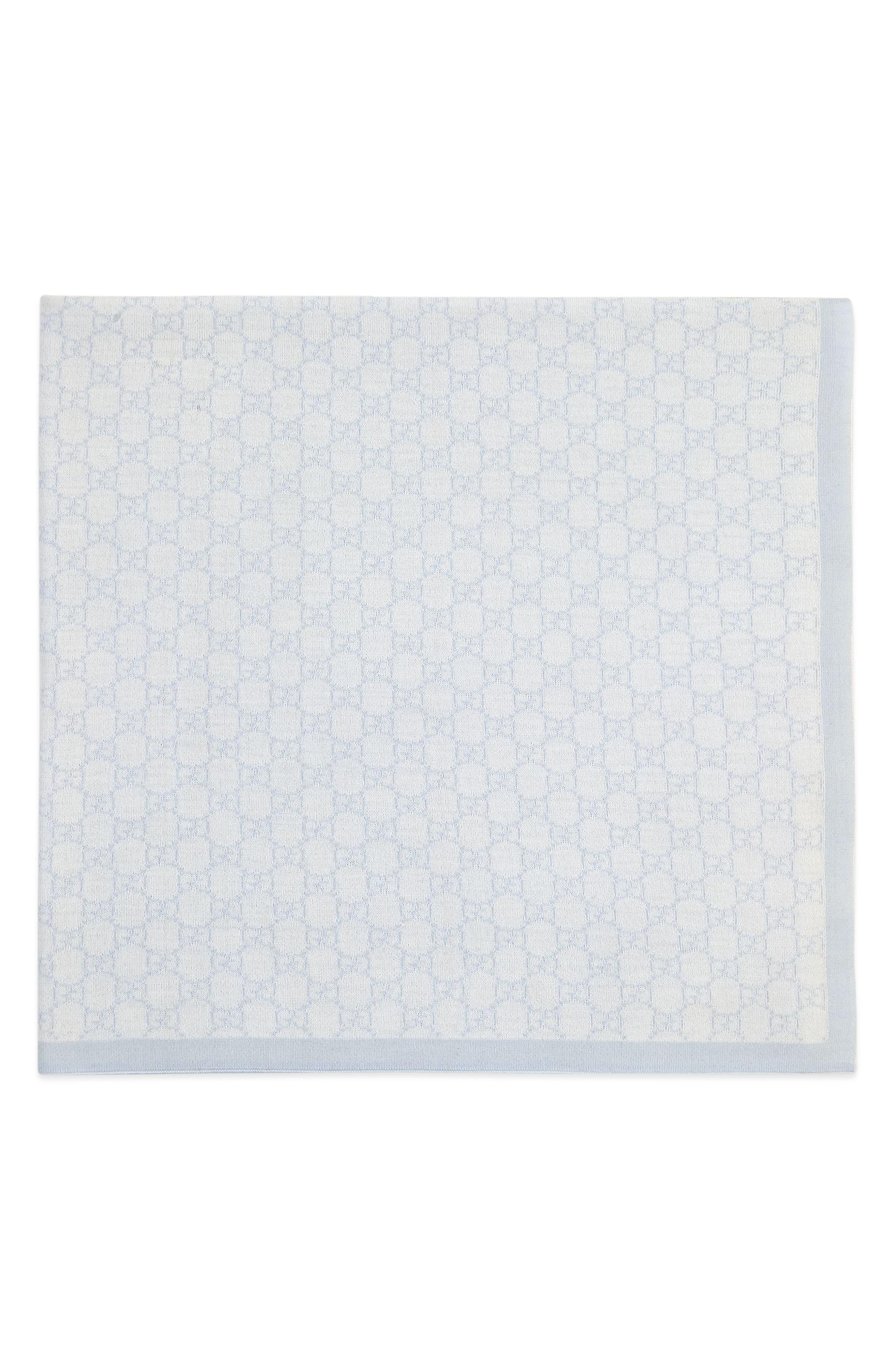 Wool Baby Blanket,                             Alternate thumbnail 4, color,                             IVORY/ SKY BLUE