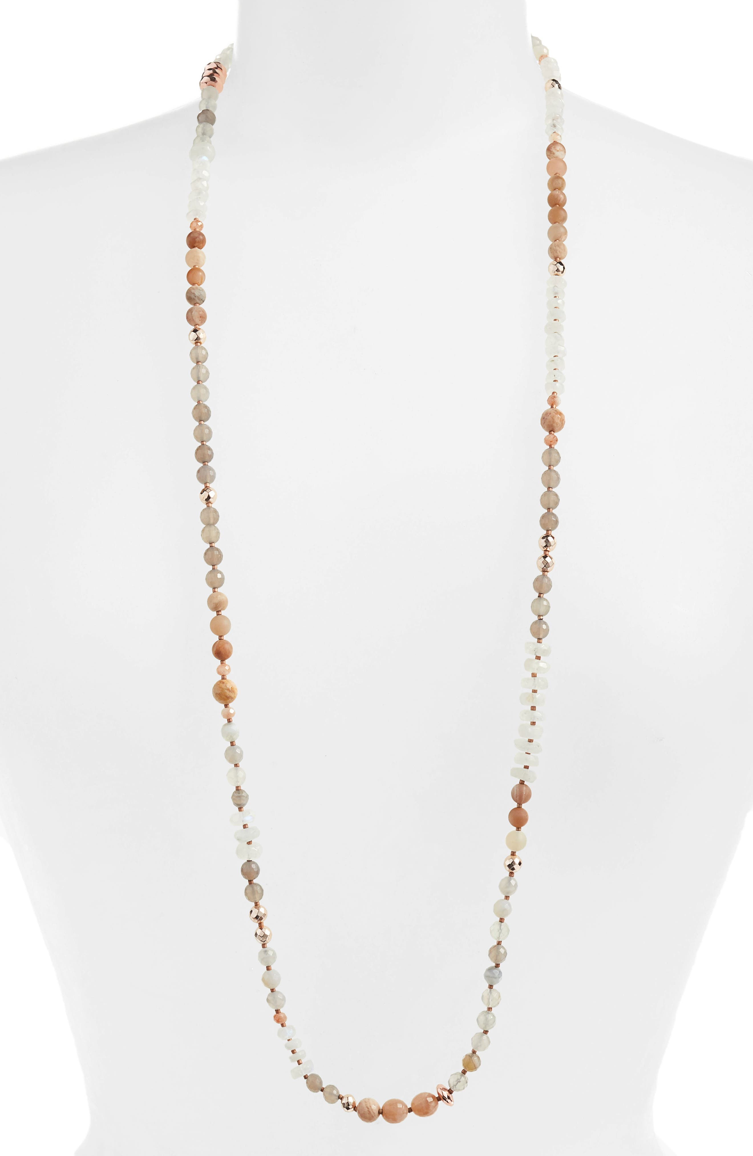 Moonstone Mix Beaded Necklace,                             Main thumbnail 1, color,                             MOONSTONE MIX