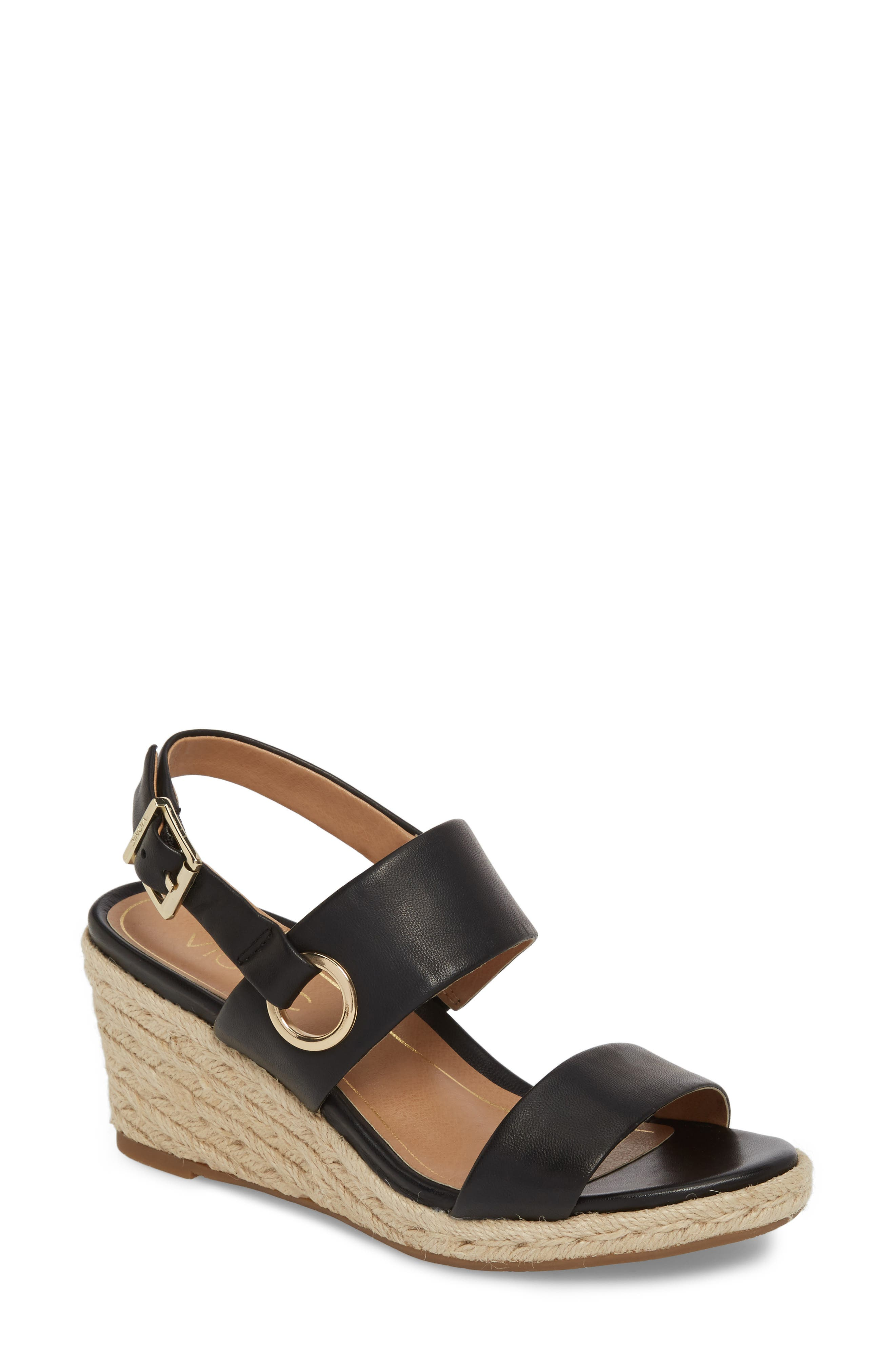 Vero Espadrille Wedge,                             Main thumbnail 1, color,                             BLACK LEATHER