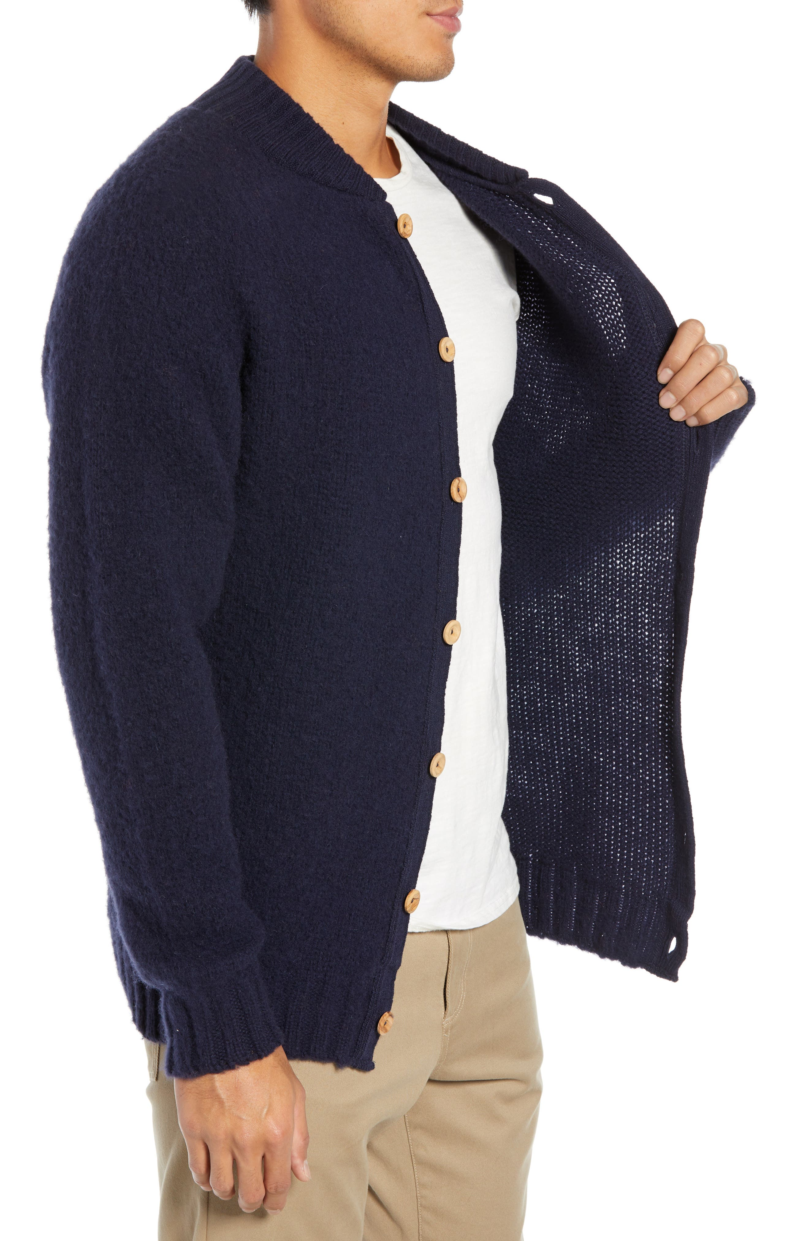 Baseball Cardy Wool Sweater,                             Alternate thumbnail 3, color,                             NAVY