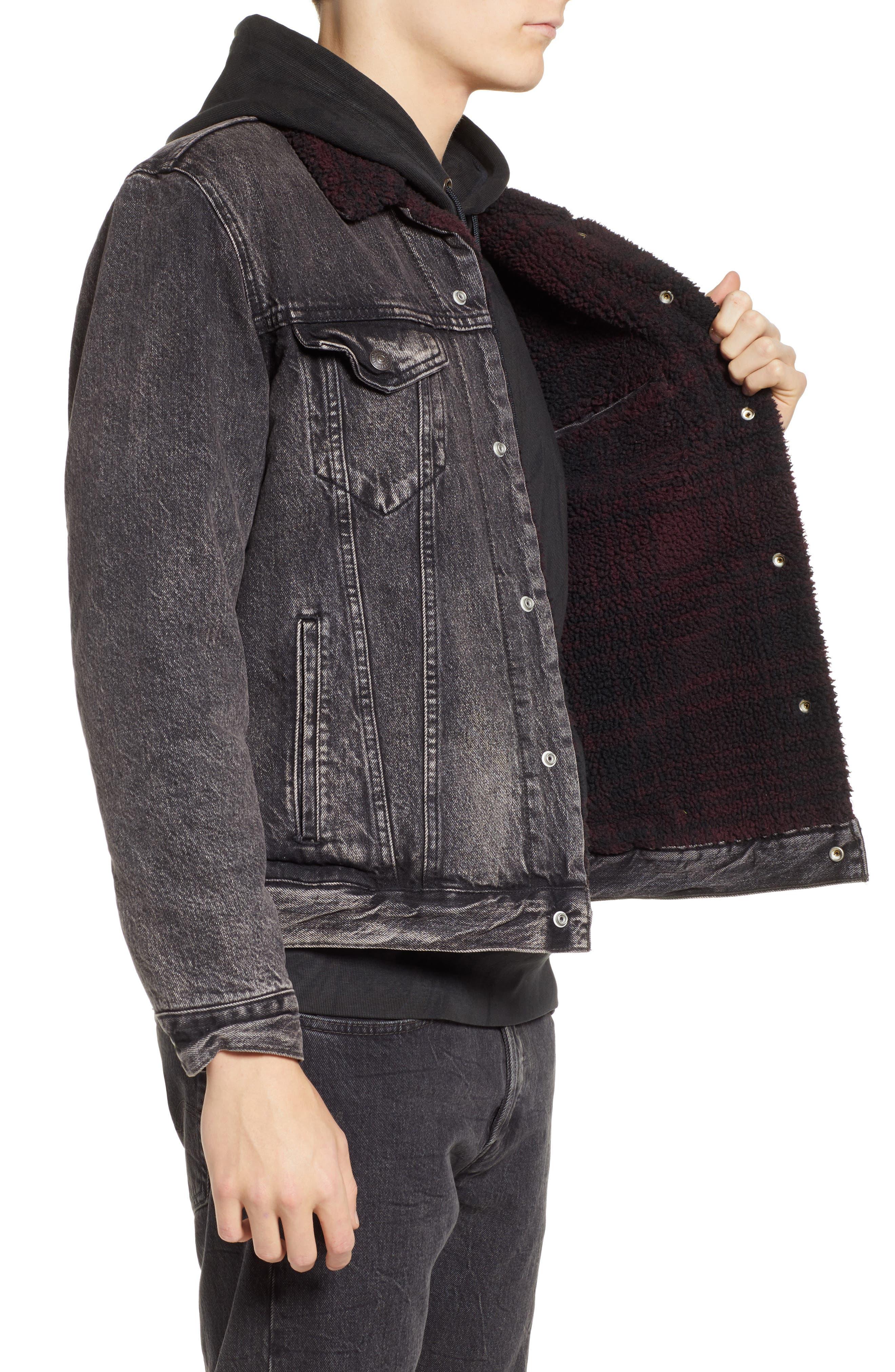 x Justin Timberlake Faux Shearling Collar Trucker Jacket,                             Alternate thumbnail 4, color,                             BRUSTED
