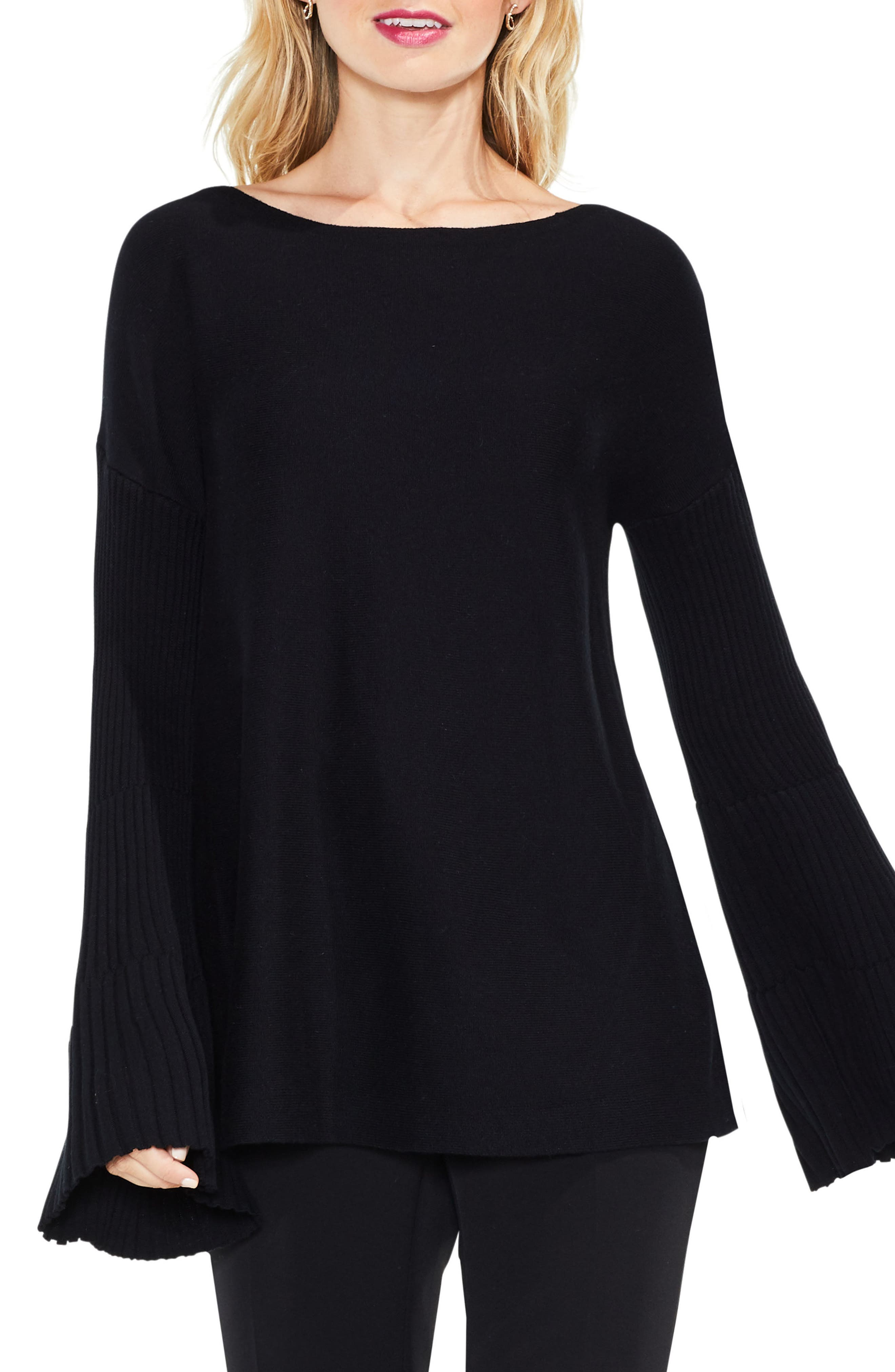 Bell Sleeve Ribbed Sweater,                             Main thumbnail 1, color,