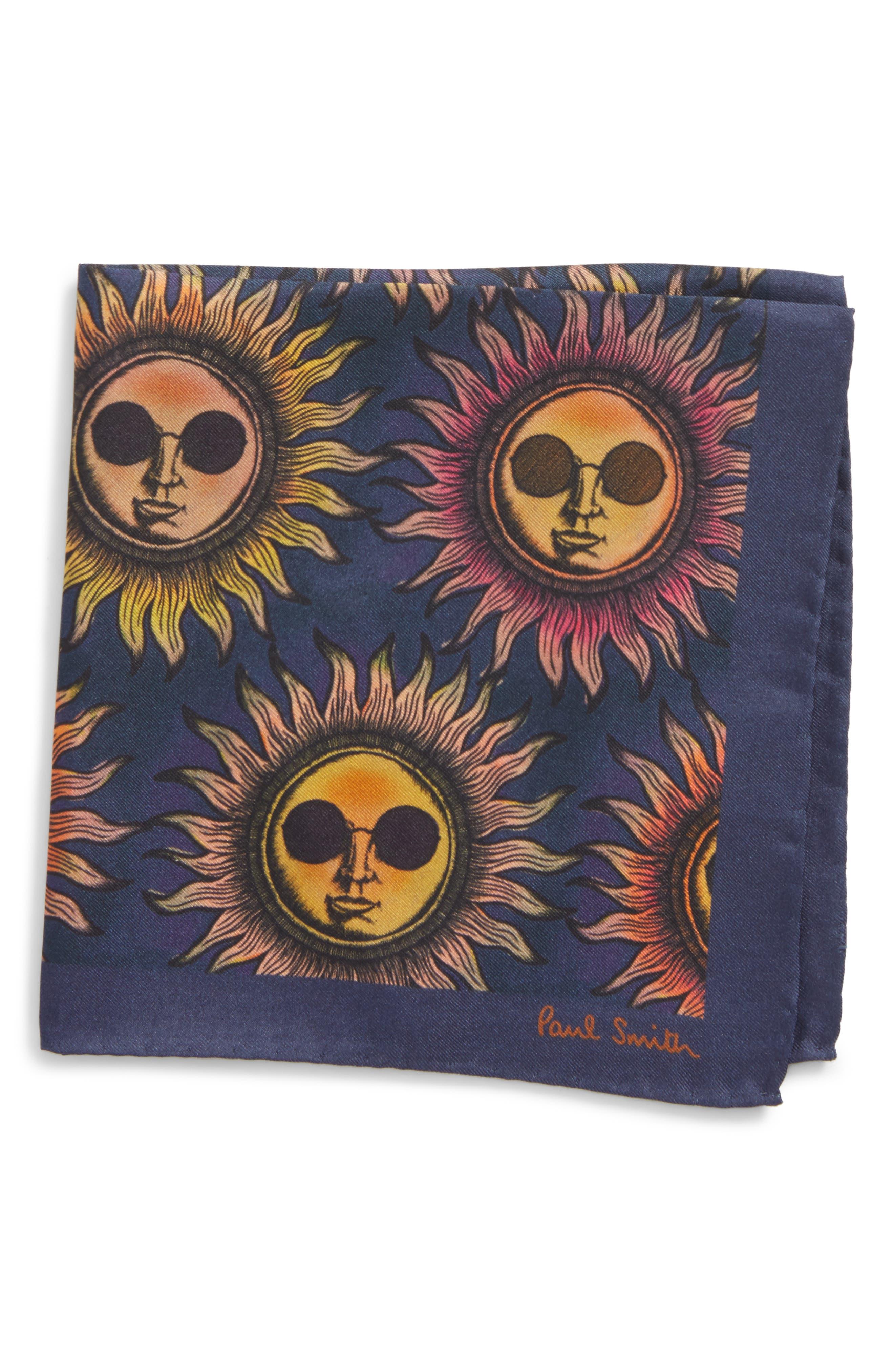 Sun Print Silk Pocket Square,                             Main thumbnail 1, color,                             415