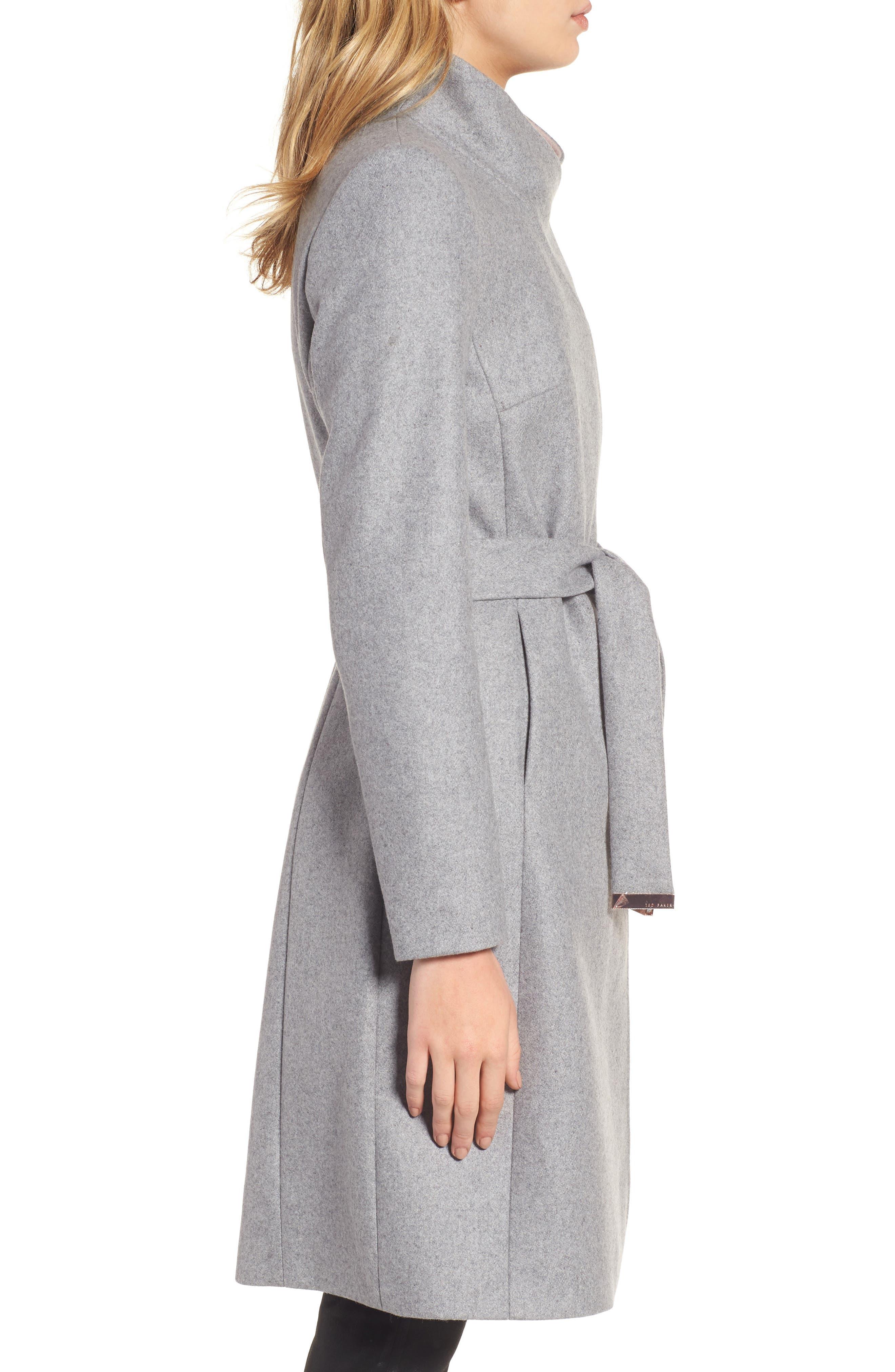 Wool Blend Long Wrap Coat,                             Alternate thumbnail 3, color,                             050