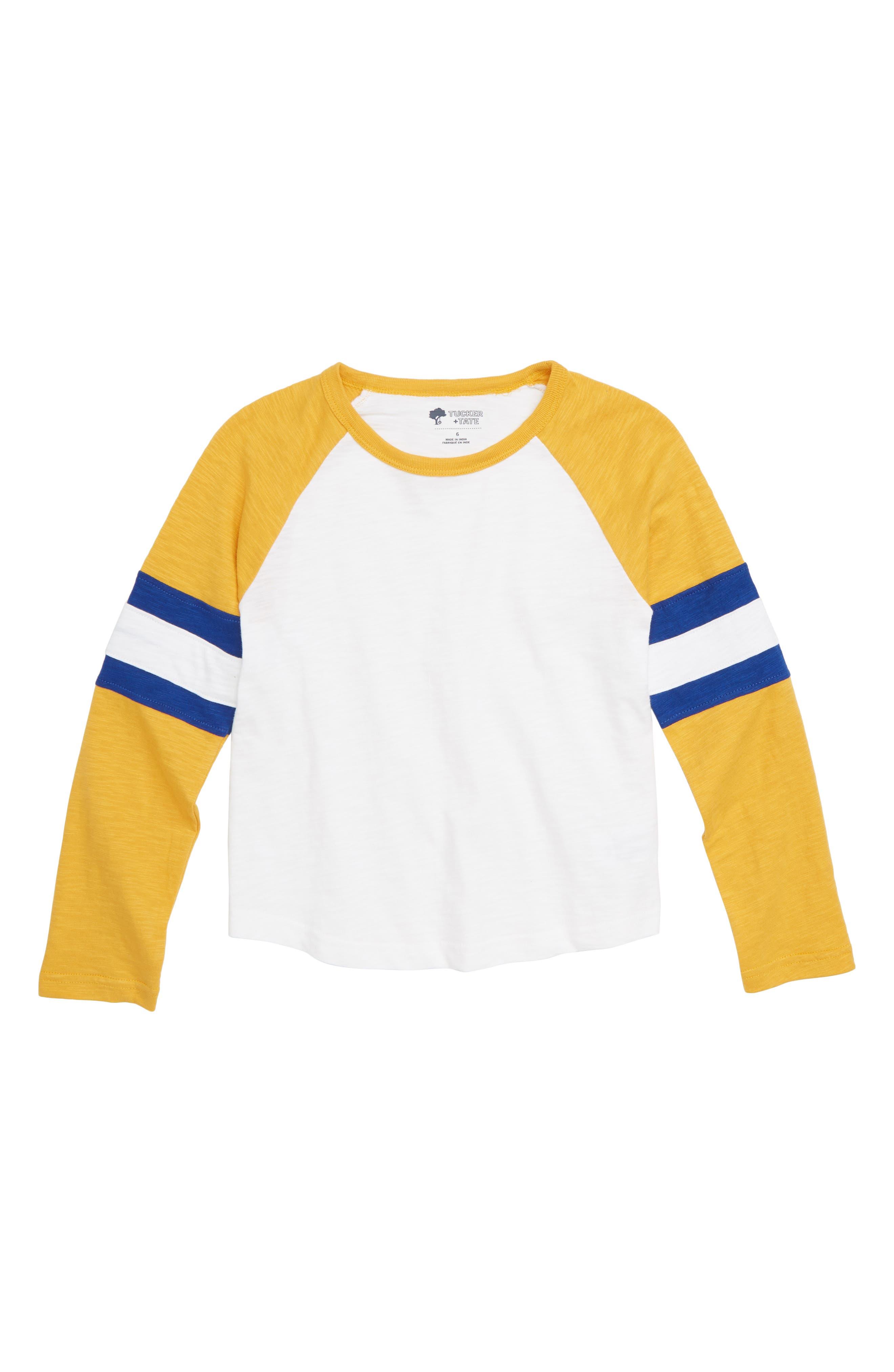 Varsity Baseball T-Shirt,                             Main thumbnail 1, color,                             WHITE- YELLOW