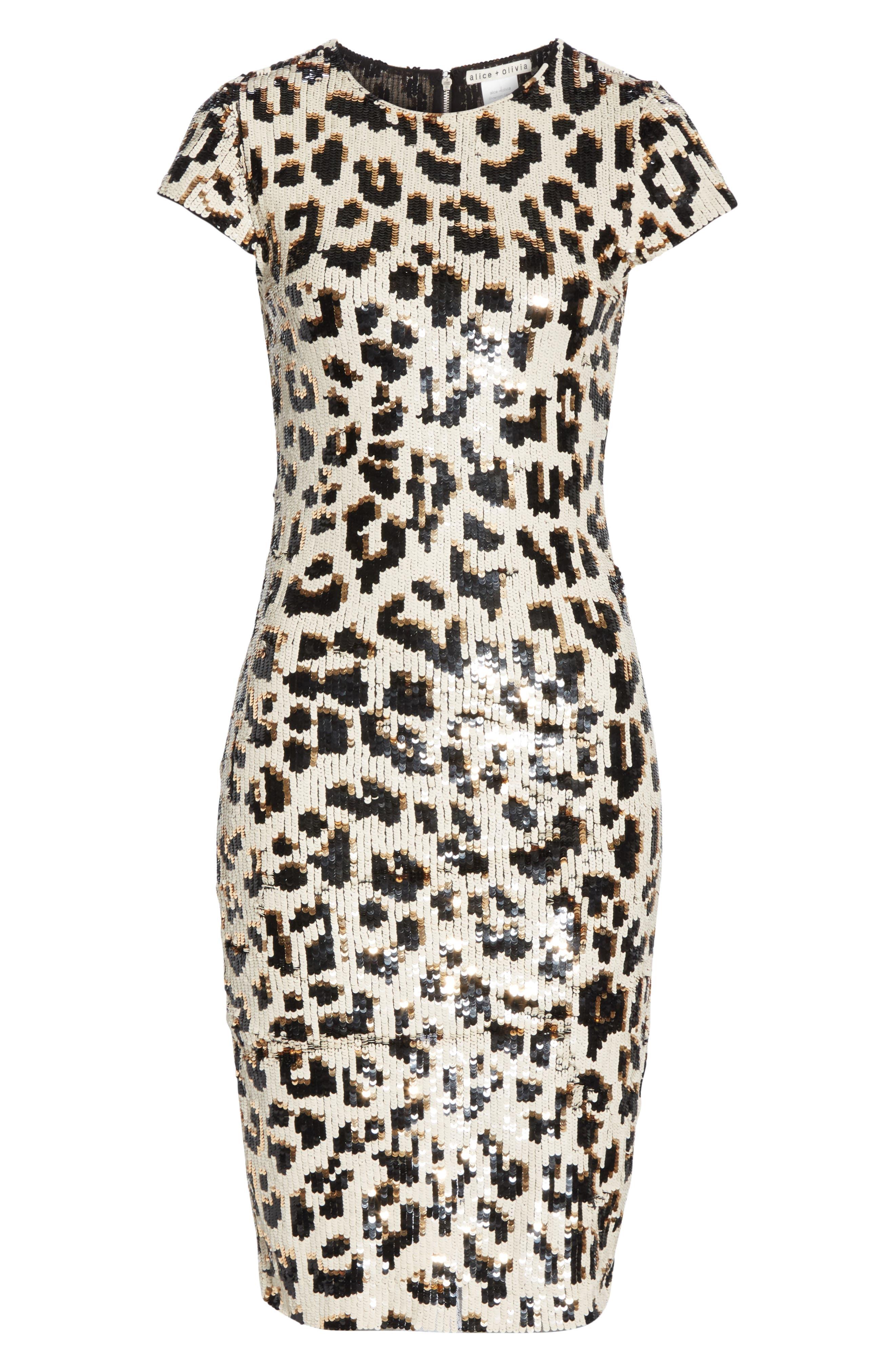 ALICE + OLIVIA,                             Nat Sequin Sheath Dress,                             Alternate thumbnail 7, color,                             LEOPARD
