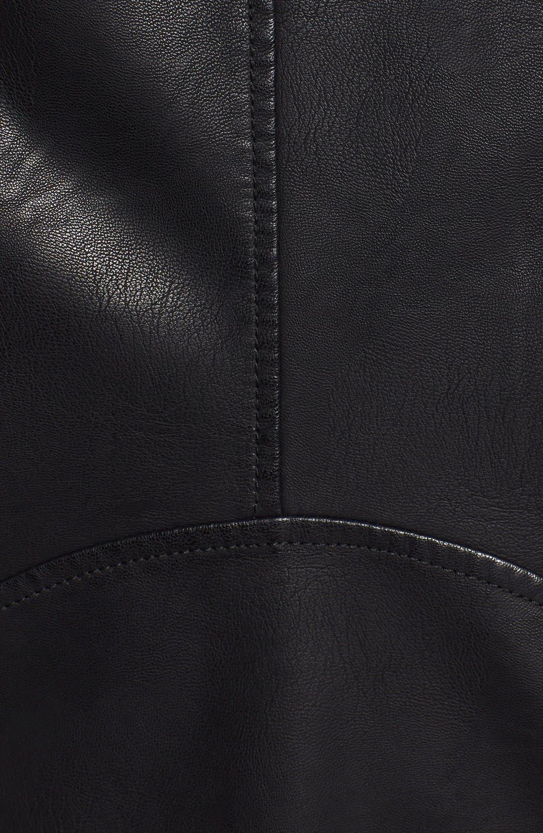 Quilt Detail Faux Leather Racer Jacket,                             Alternate thumbnail 5, color,                             001