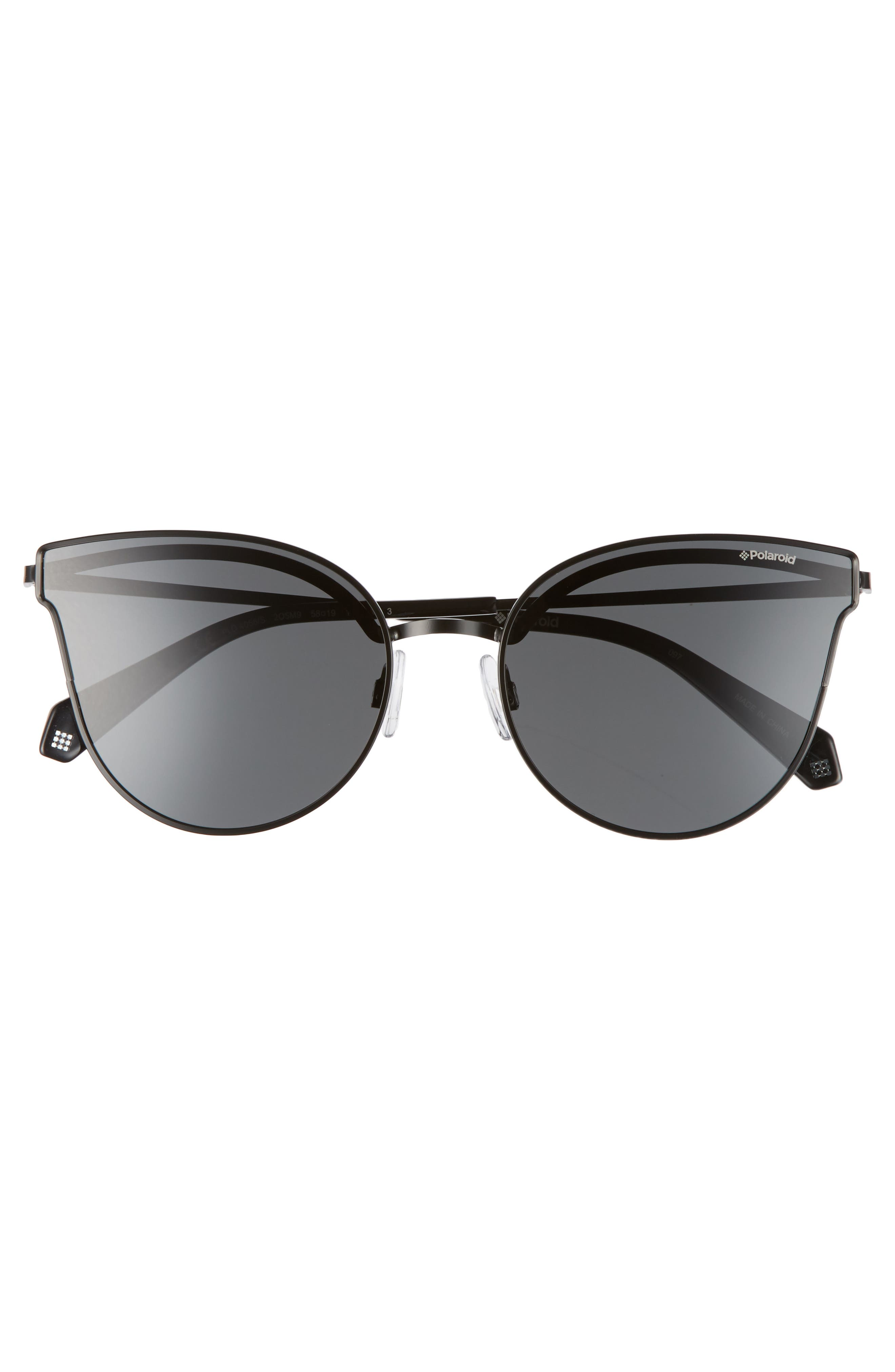 58mm Polarized Butterfly Sunglasses,                             Alternate thumbnail 3, color,                             001