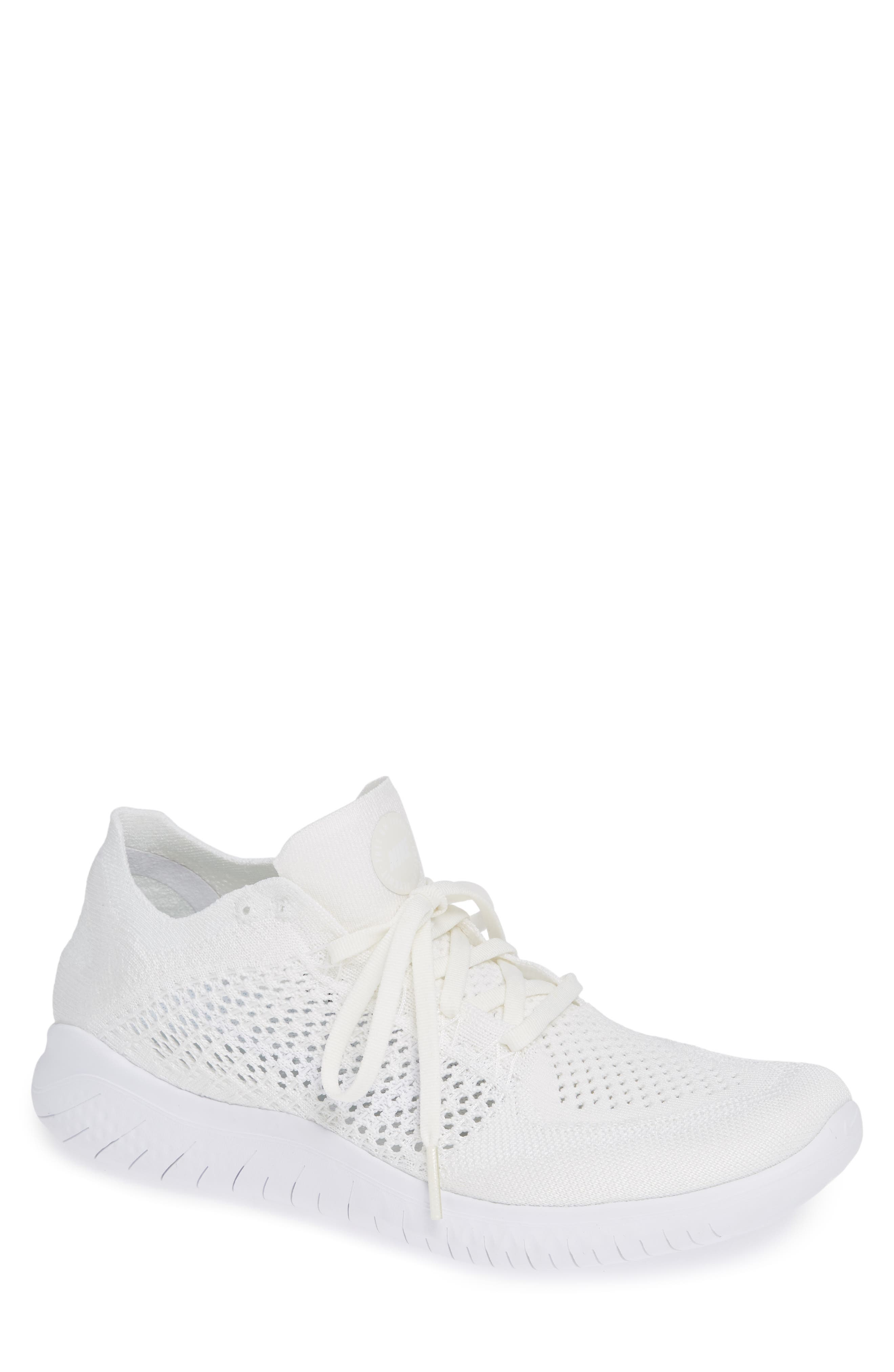 NIKE,                             Free RN Flyknit 2018 Running Shoe,                             Main thumbnail 1, color,                             WHITE/ WHITE