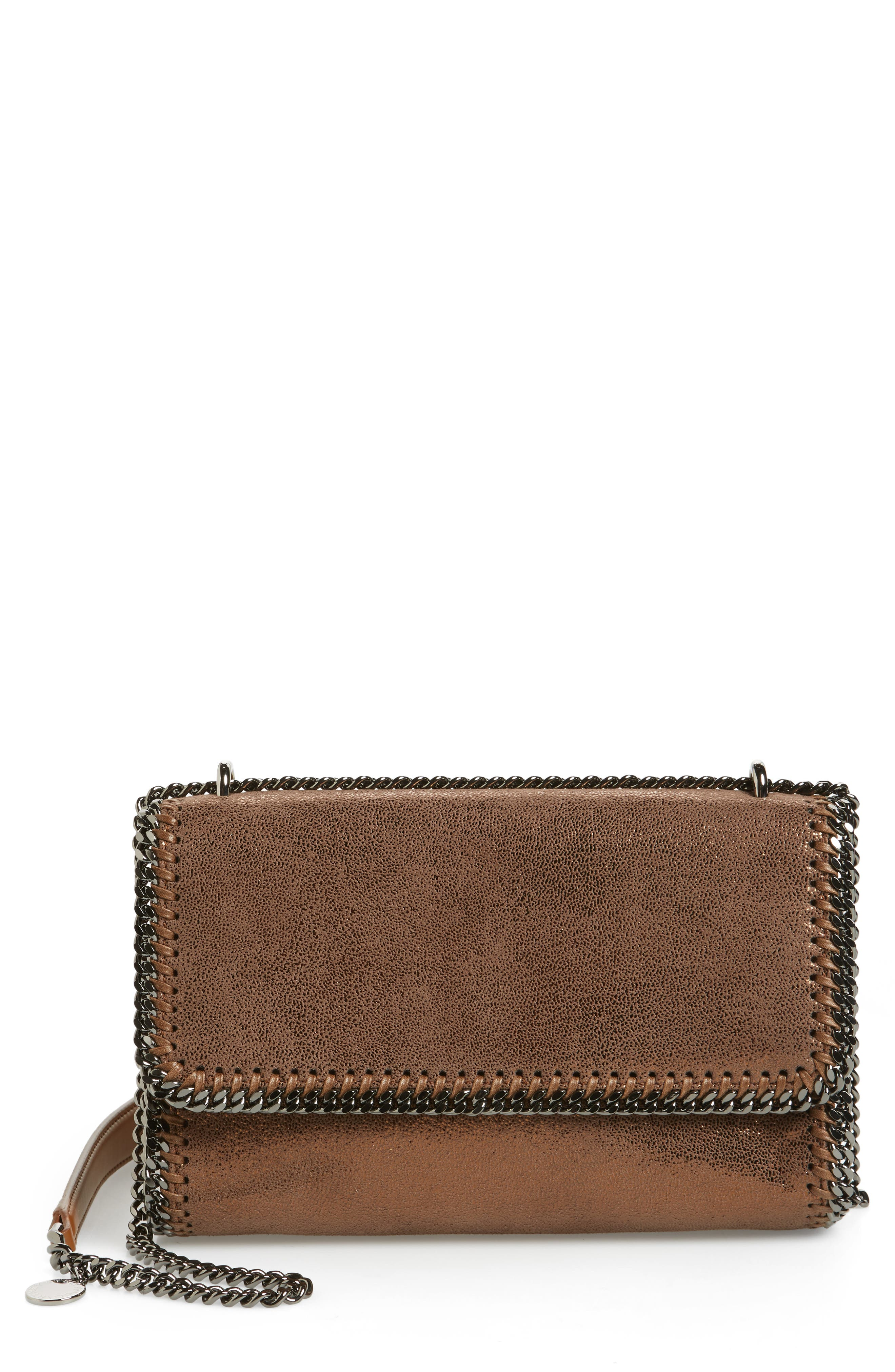 Falabella Metallic Faux Leather Convertible Shoulder Bag,                             Main thumbnail 1, color,                             200