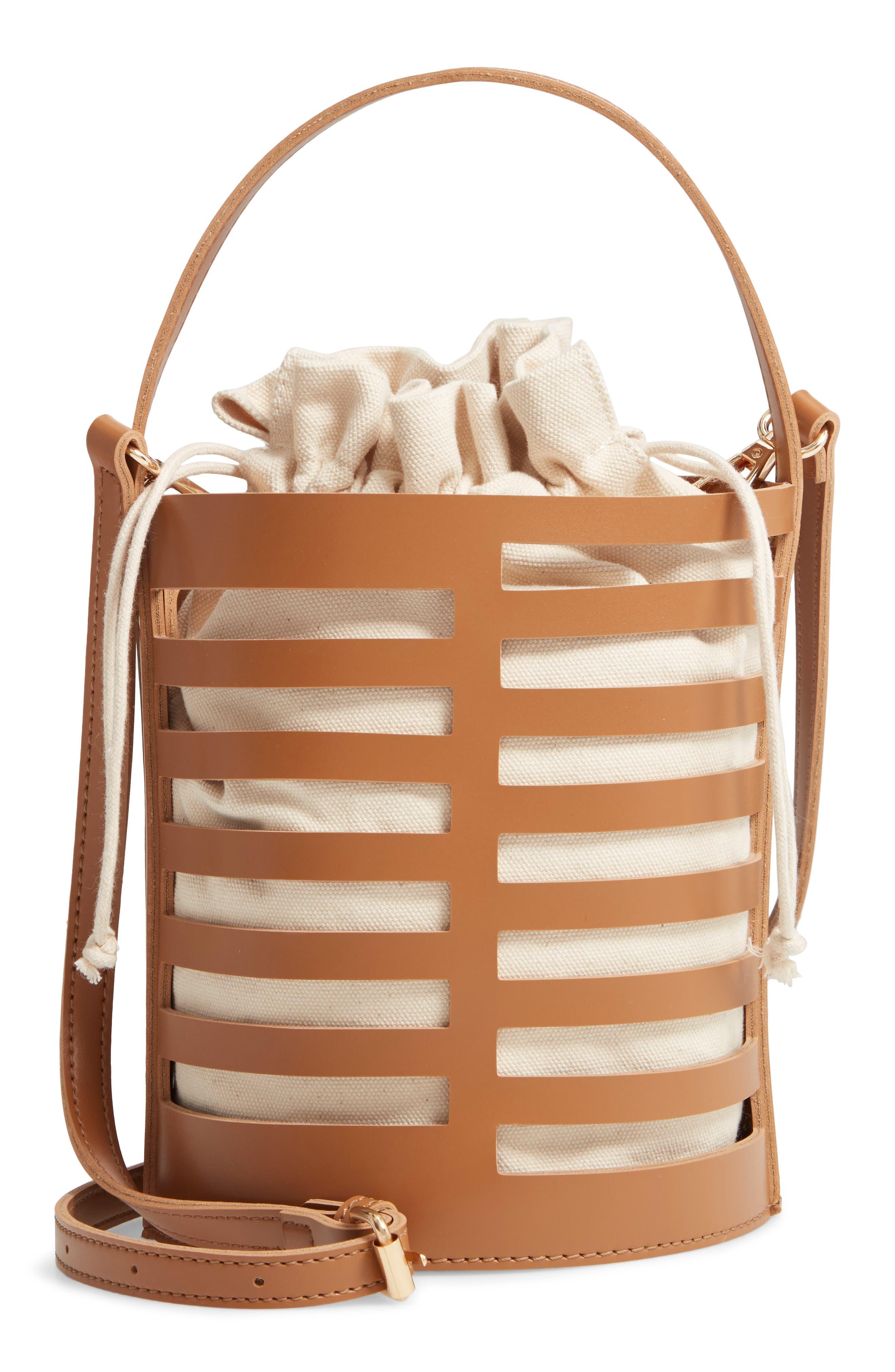 Cutout Round Bucket Crossbody Bag,                             Main thumbnail 1, color,                             TAN